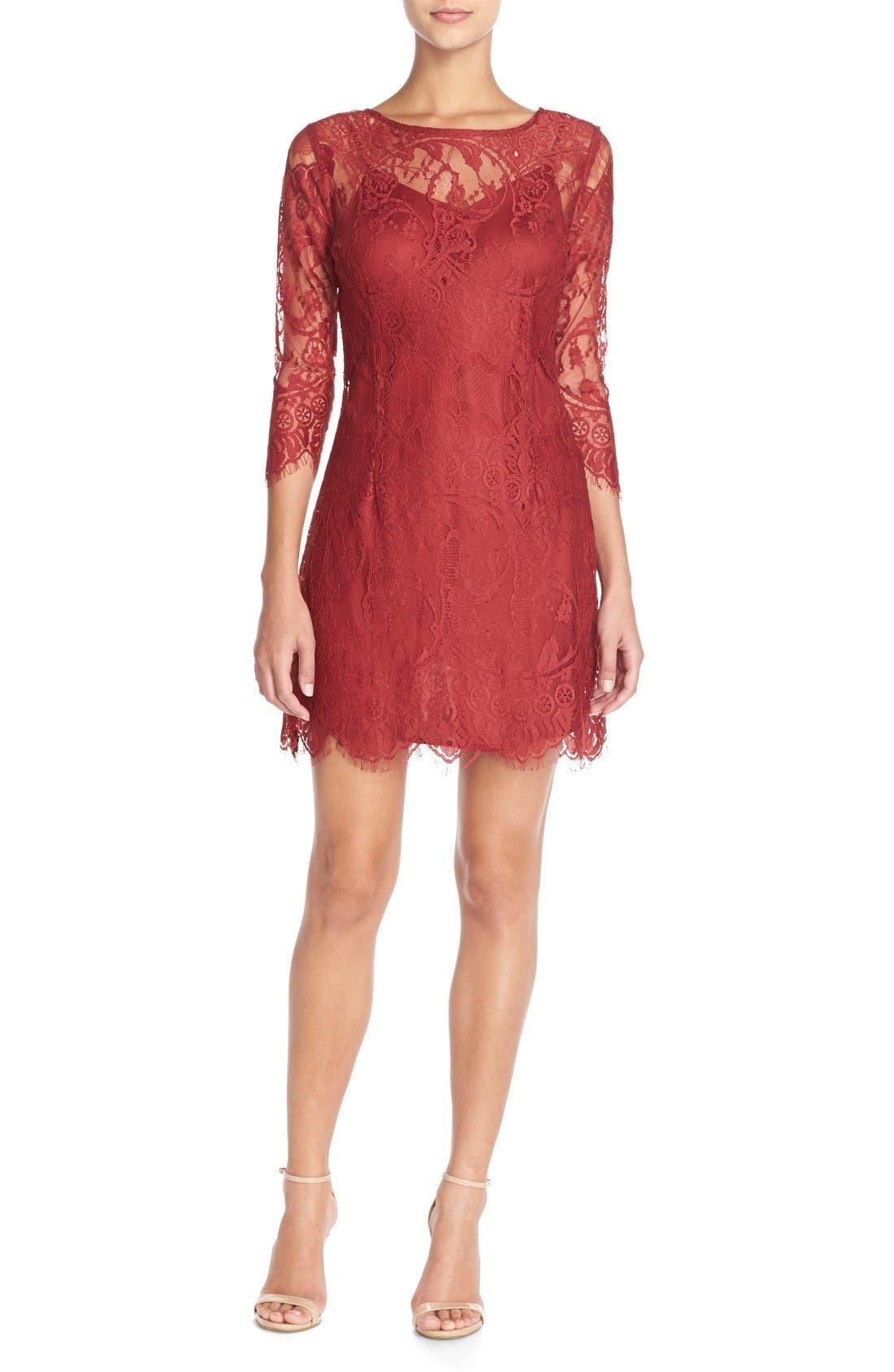 'Natalia' Lace Sheath Dress,                             Alternate thumbnail 4, color,                             Bordeaux