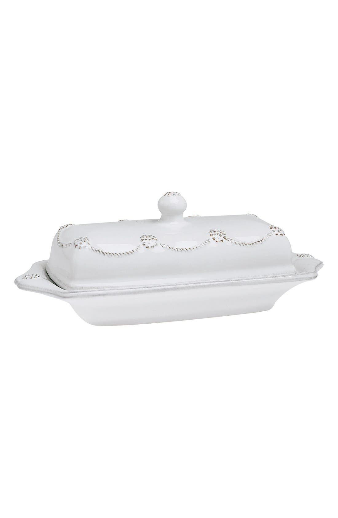 'Berry and Thread' Ceramic Butter Dish,                         Main,                         color, Whitewash