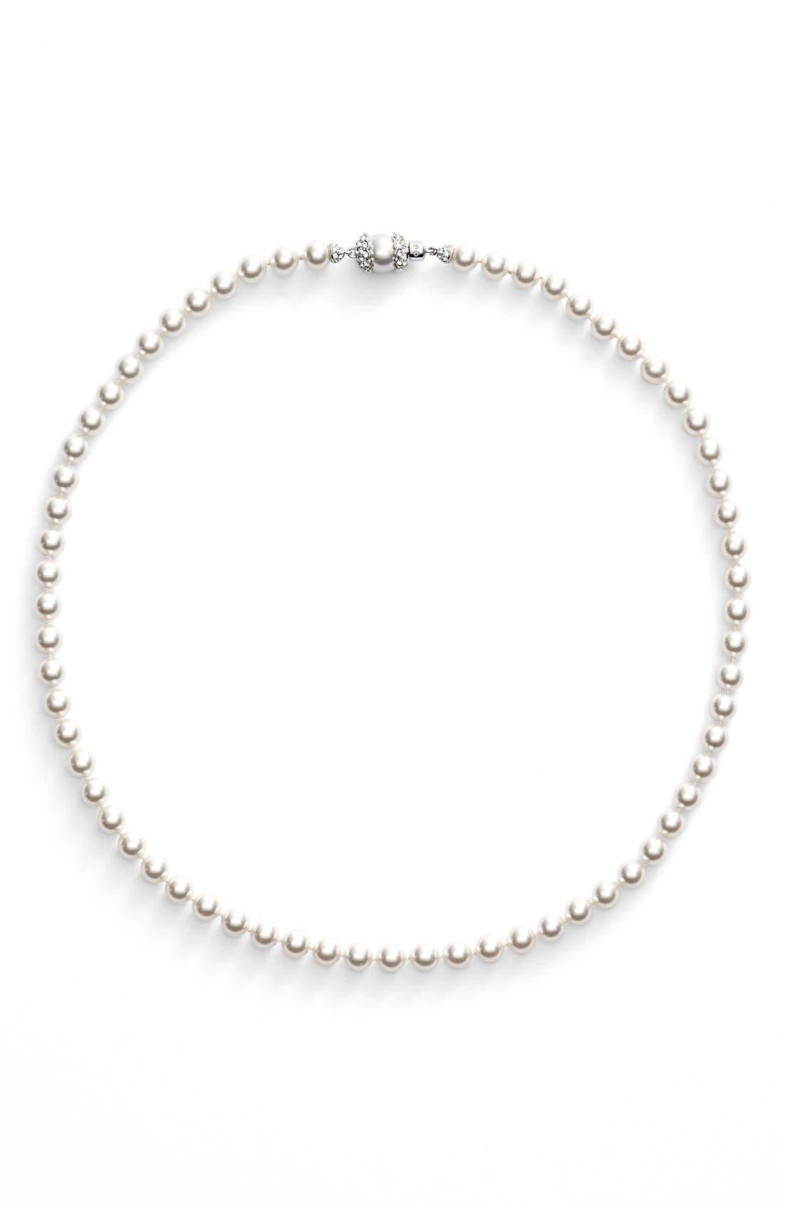 ImitationPearl Collar Necklace,                             Alternate thumbnail 2, color,                             Rhodium