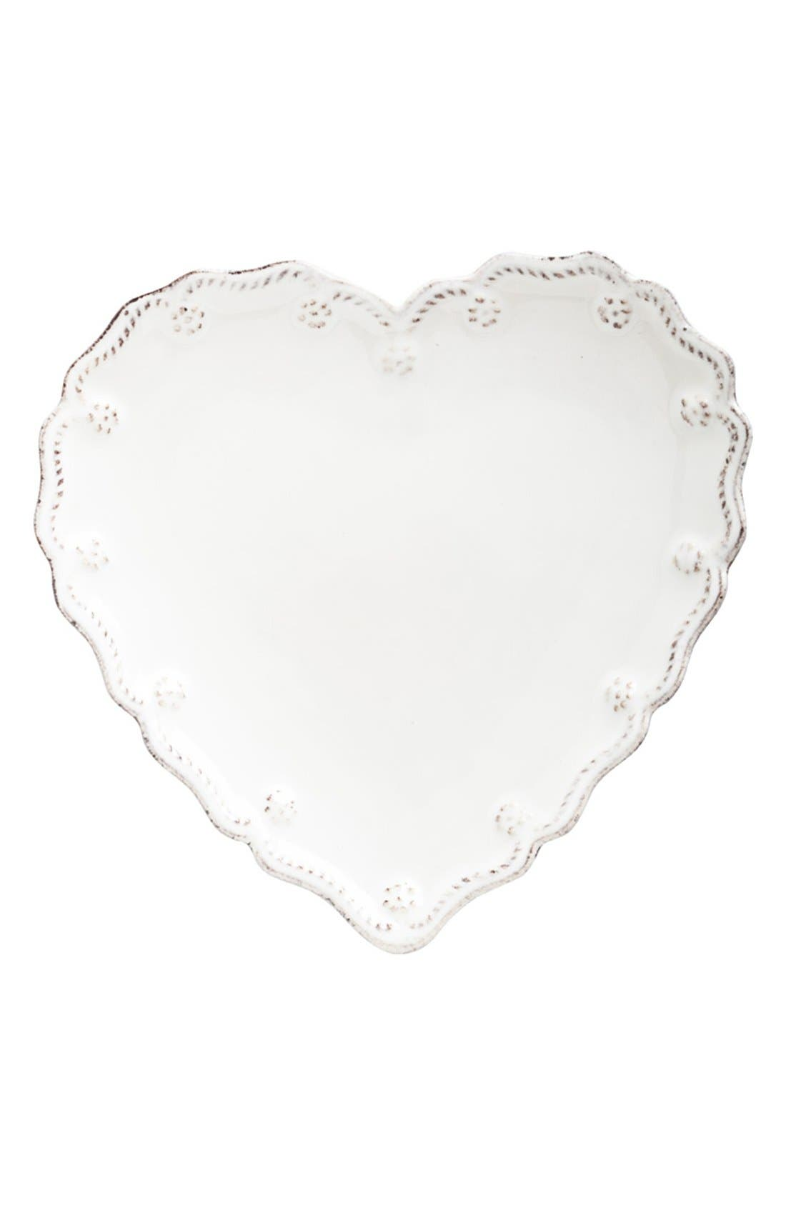 'Berry and Thread' Heart Shaped Cocktail Plates,                             Main thumbnail 1, color,                             Whitewash