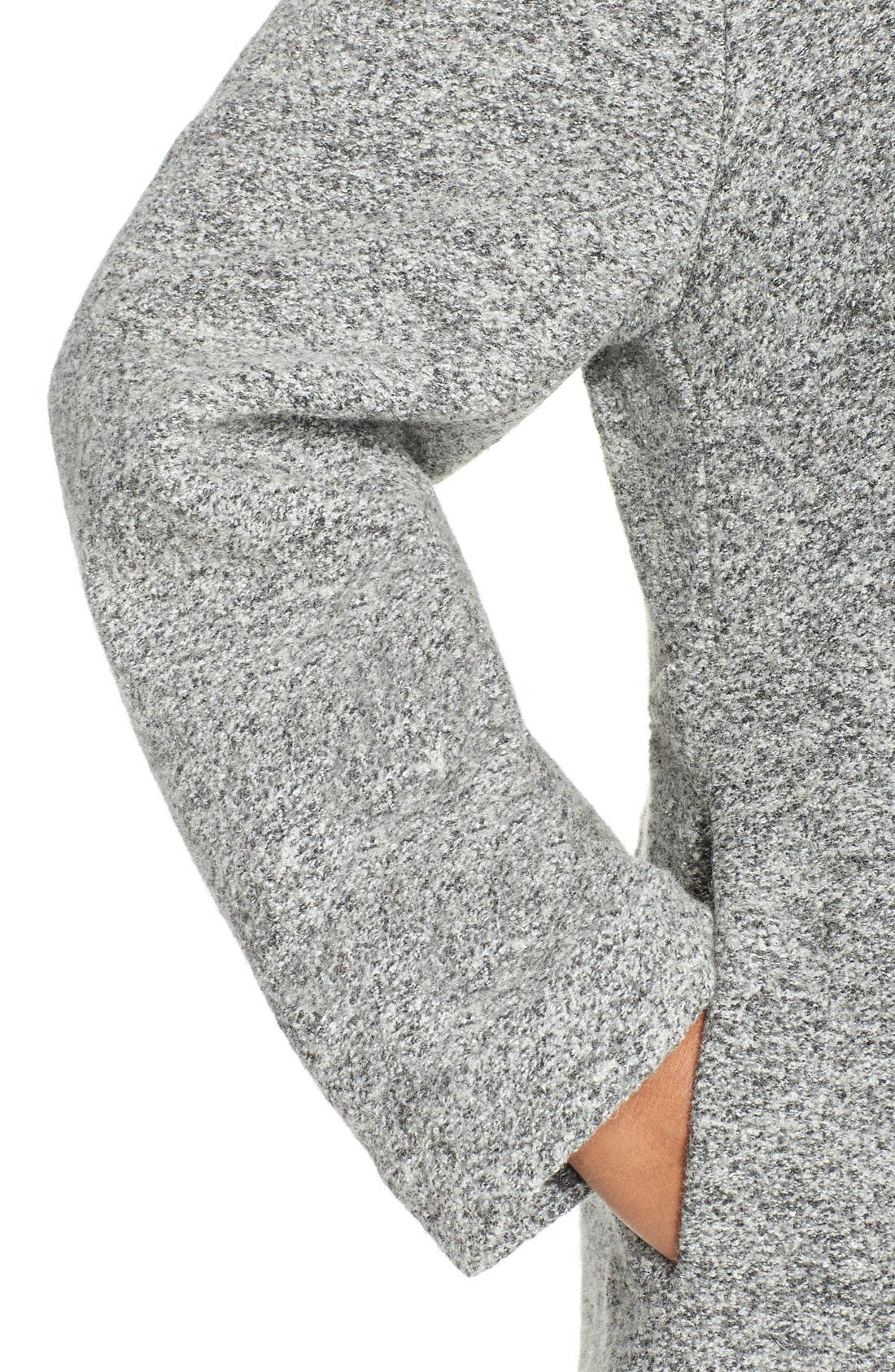 Alternate Image 4  - Kristen Blake Hooded Boiled Wool Blend Swing Coat (Plus Size)