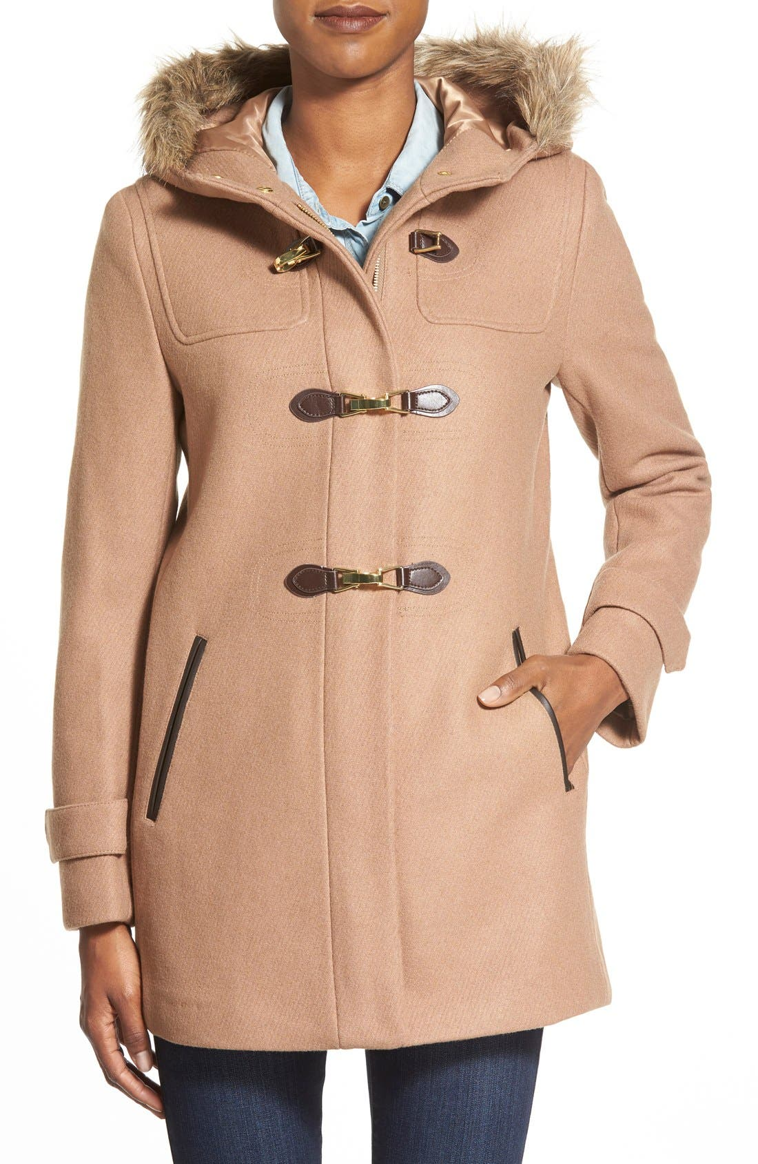 Main Image - Cole Haan Faux Fur Trim Wool Blend Duffle Coat