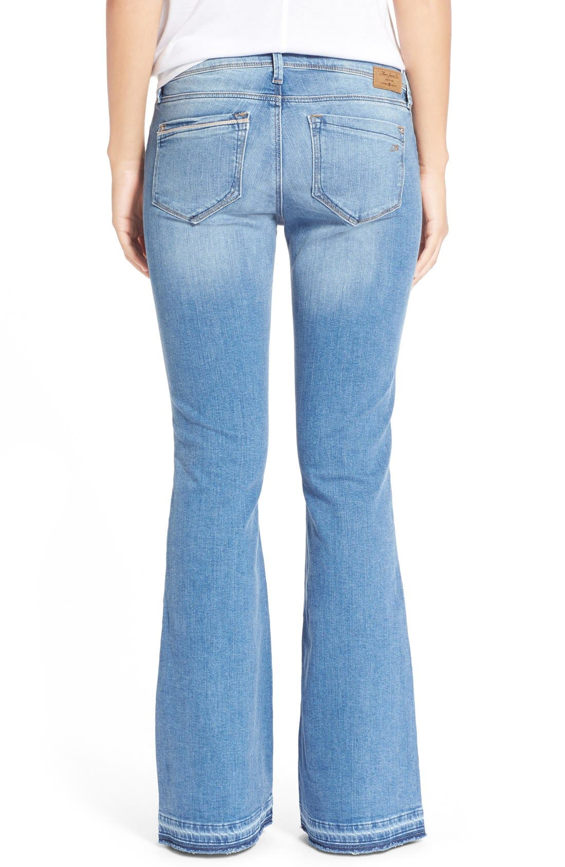 'Peace' Stretch Flare Leg Jeans,                             Alternate thumbnail 2, color,                             Light Ripped