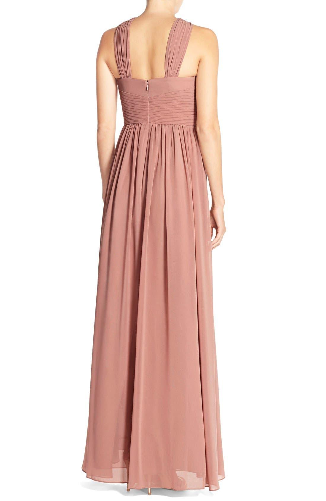 Alternate Image 2  - DonnaMorgan 'Hayley' Halter Style Pleat Chiffon Gown