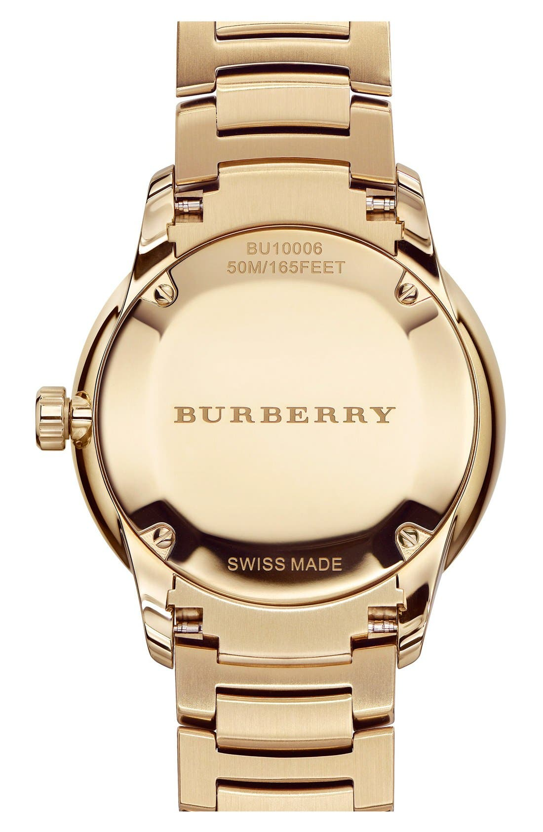 Alternate Image 3  - Burberry Check Stamped Bracelet Watch, 40mm