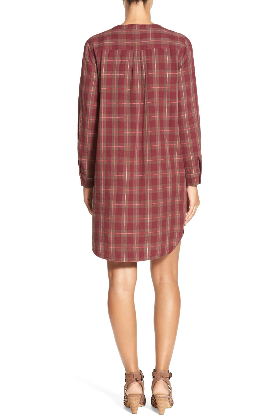 Alternate Image 2  - Two by Vince Camuto Plaid Collarless Shirtdress
