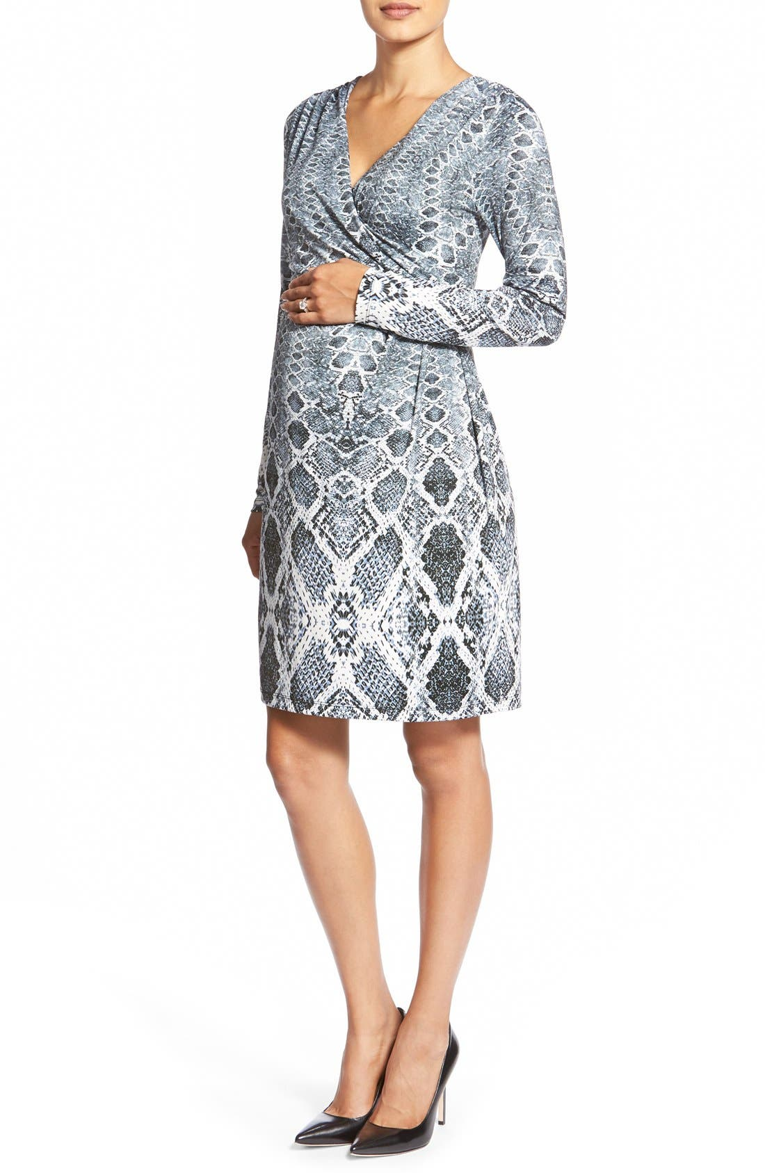 'April' Print Jersey Maternity Dress,                         Main,                         color, Python Border