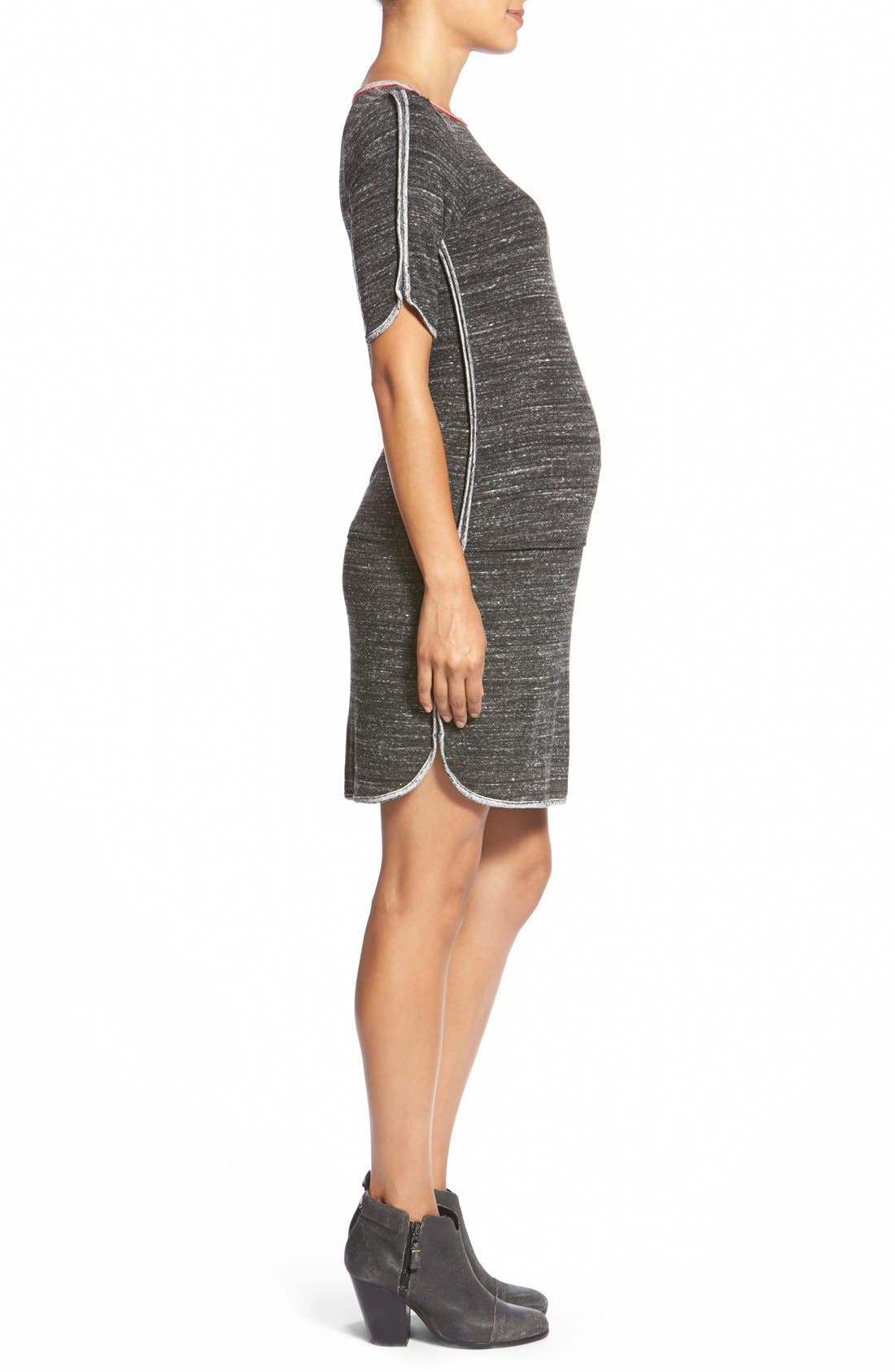 'Abby' Maternity Dress,                             Alternate thumbnail 3, color,                             Heather/ Charcoal