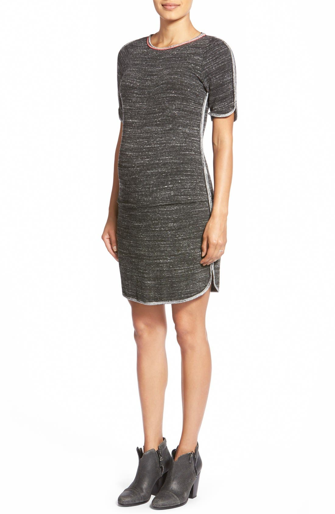 'Abby' Maternity Dress,                         Main,                         color, Heather/ Charcoal