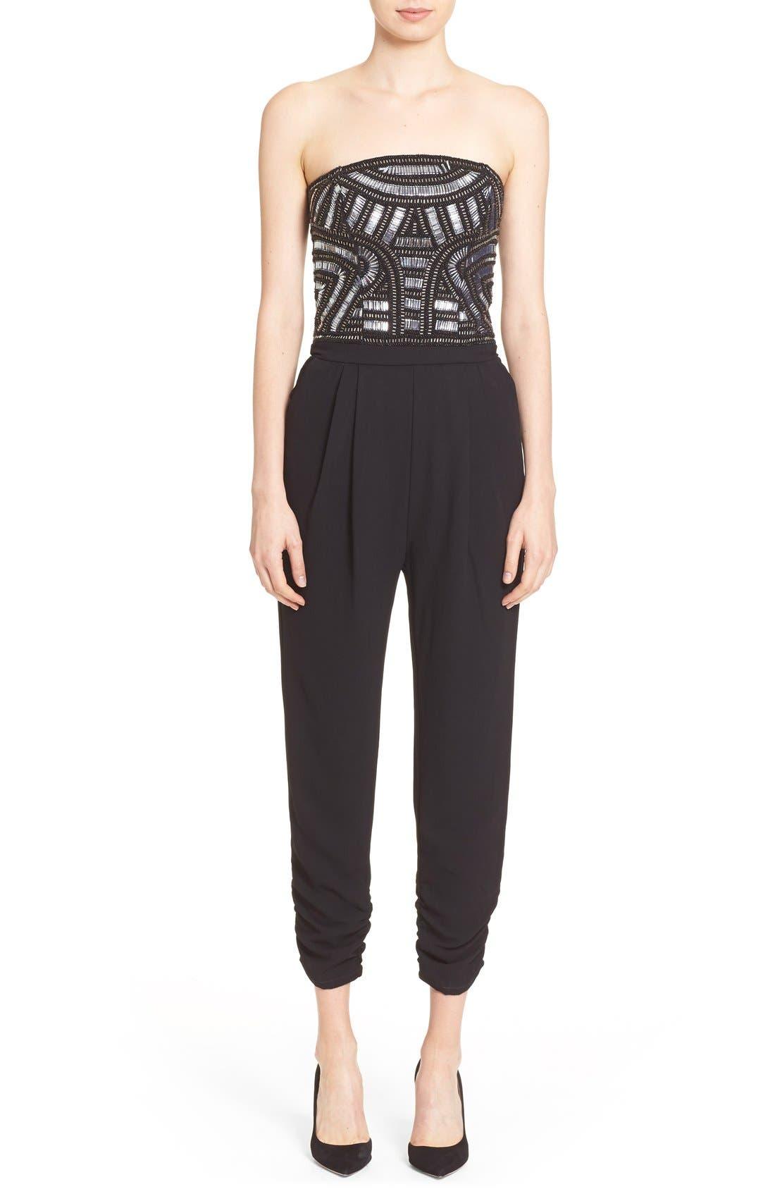 Main Image - Parker 'Giovanna' Embellished Strapless Jumpsuit