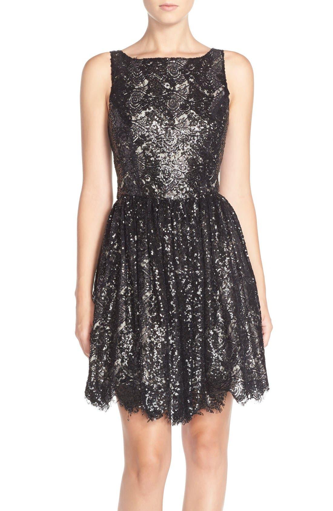 'Sabrina' Sequin Fit & Flare Dress,                             Main thumbnail 1, color,                             Black