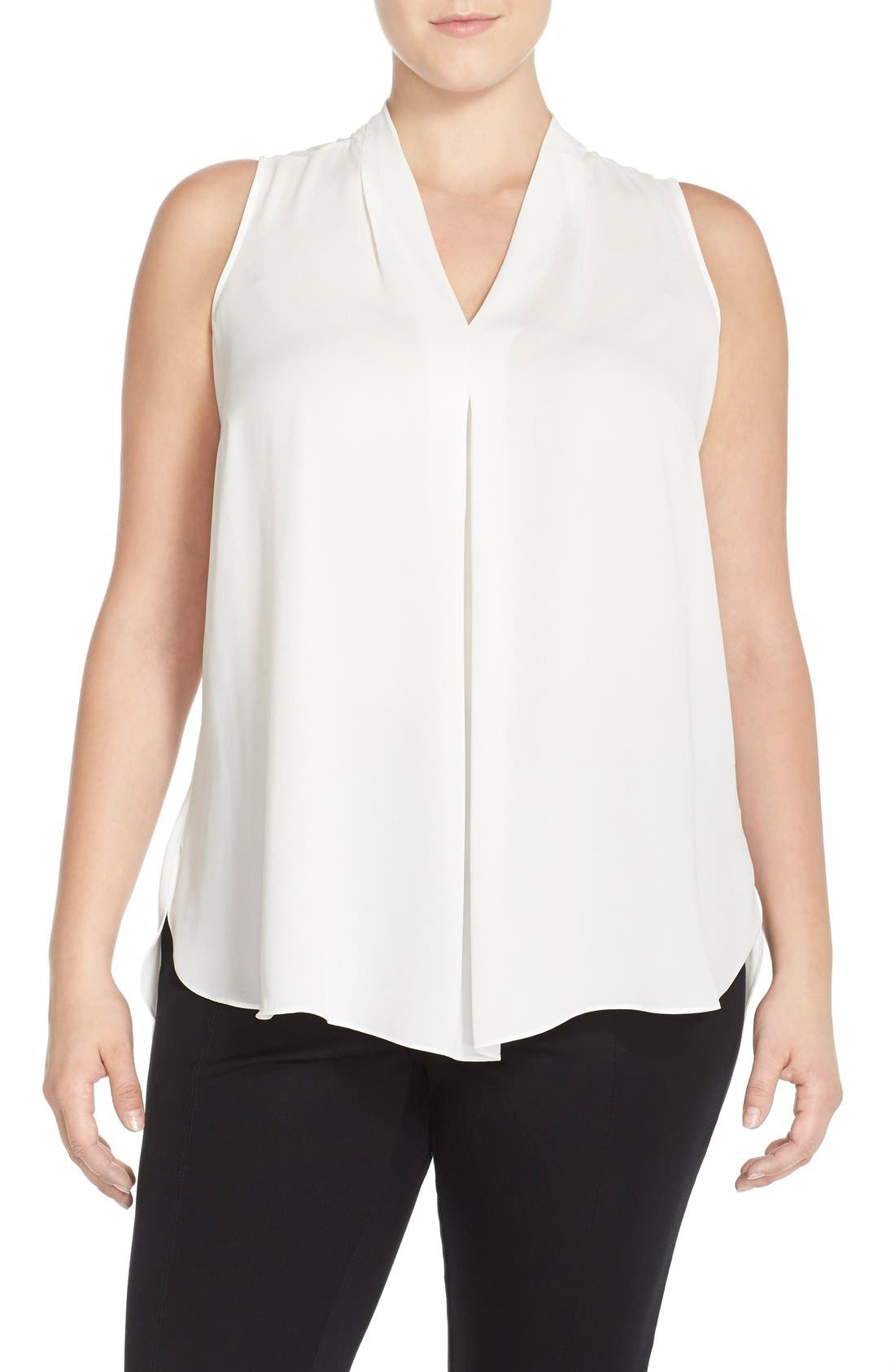 Vince Camuto Pleat Front V-Neck Sleeveless Blouse (Plus Size)