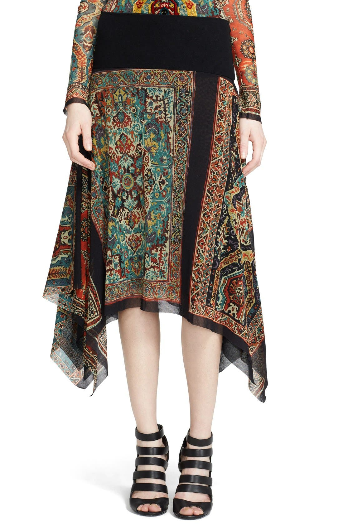 Main Image - Jean Paul Gaultier Paisley Print Asymmetrical Tulle Skirt (Nordstrom Exclusive)
