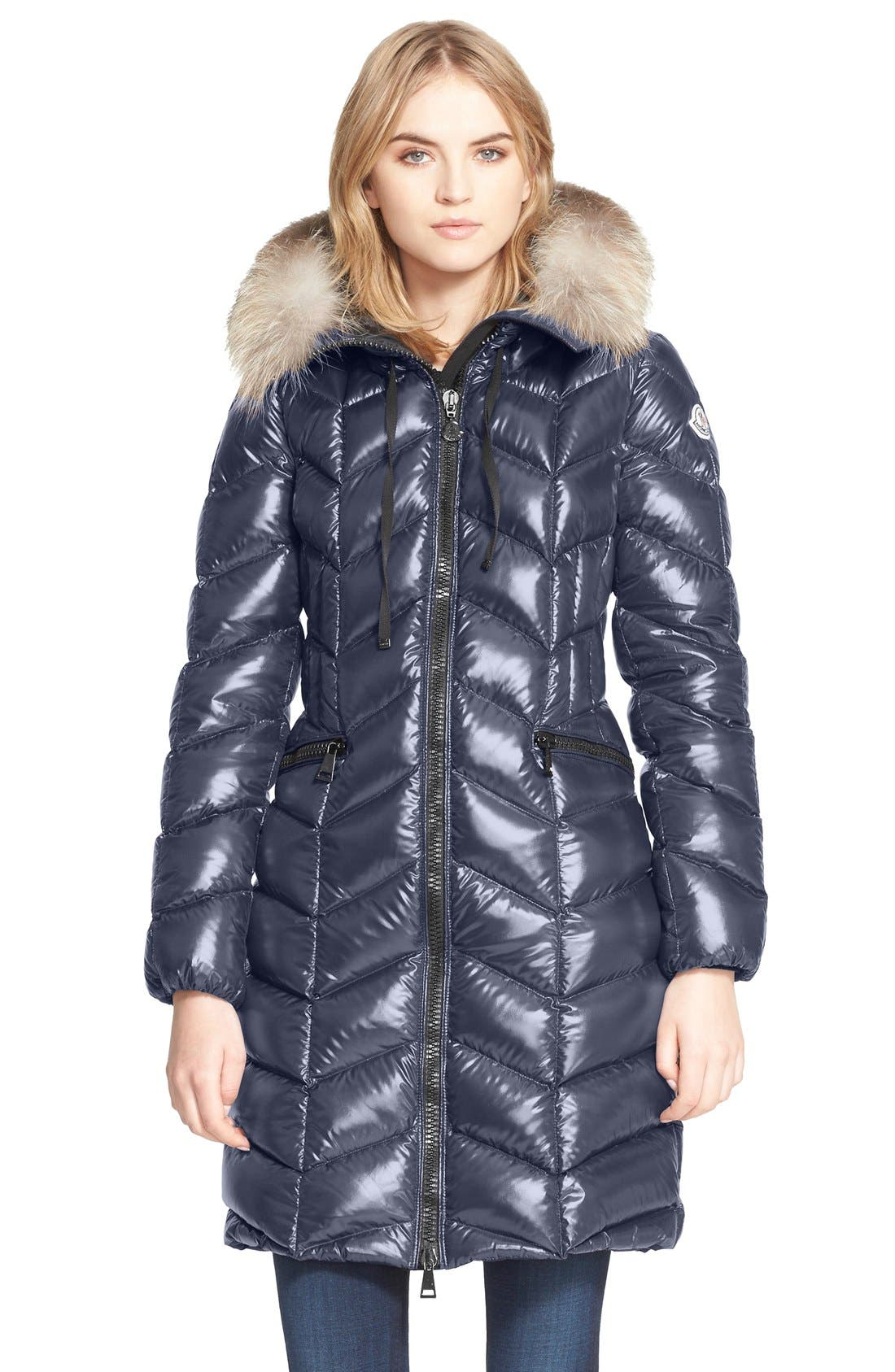 Main Image - Moncler 'Bellette' Lacquer Down Coat with Genuine Fox Fur Ruff