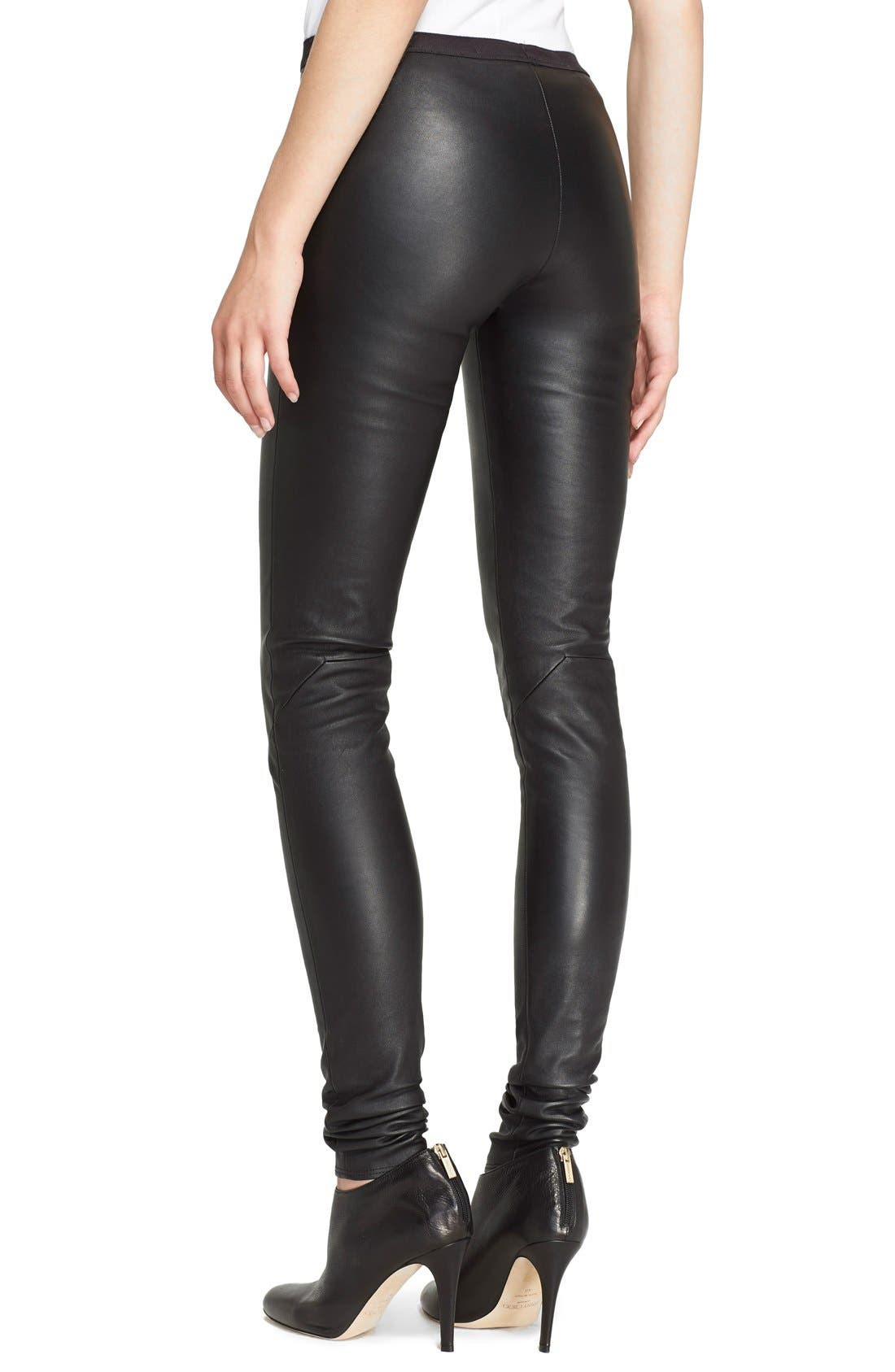 Alternate Image 2  - Rick Owens Stretch Leather Leggings