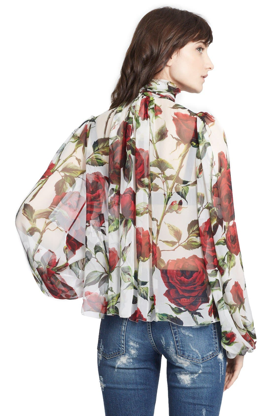 Alternate Image 2  - Dolce&Gabbana Tie Neck Rose Print Chiffon Blouse