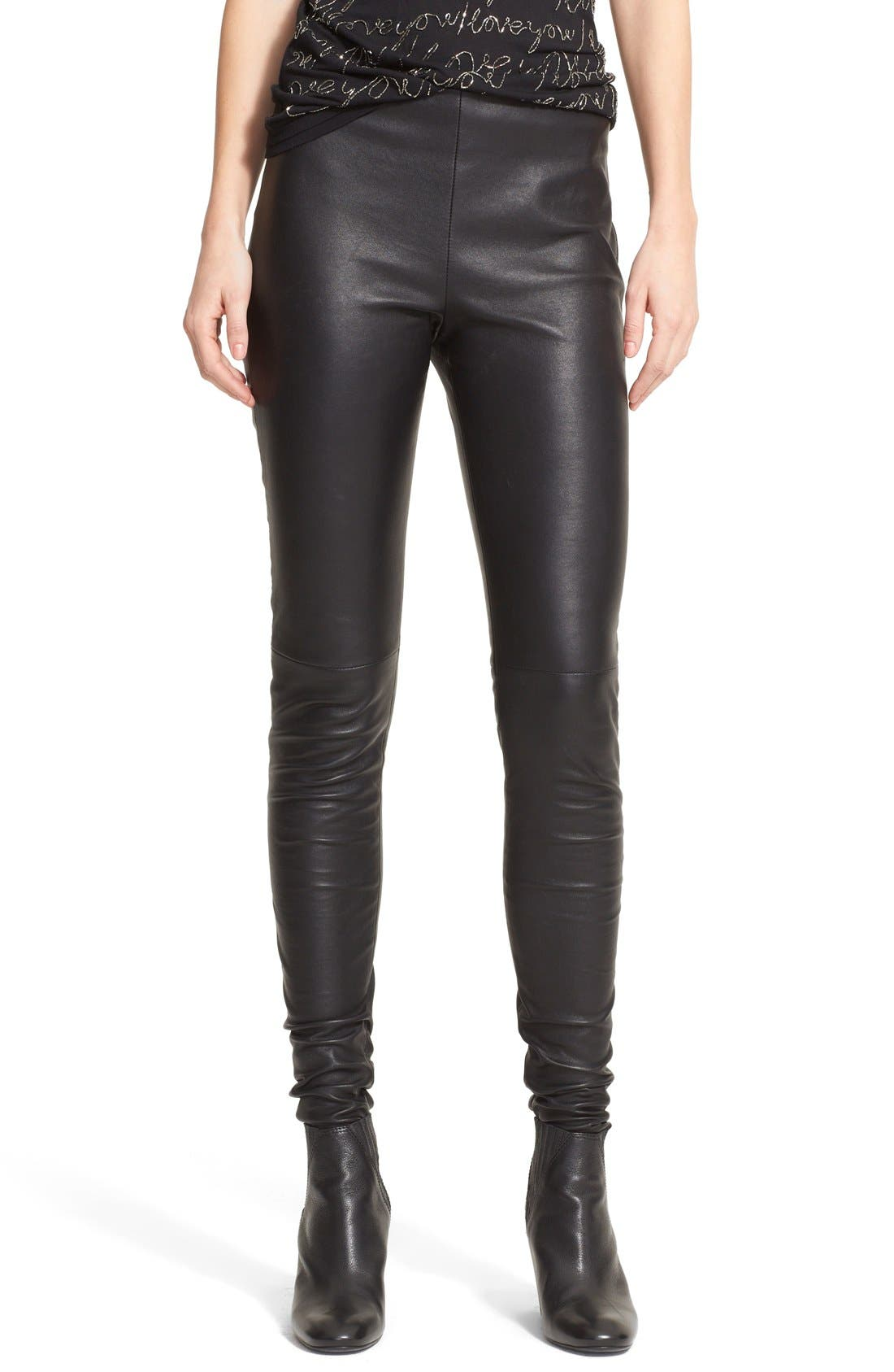 Alternate Image 1 Selected - Lanvin Stretch Lambskin Leather Leggings