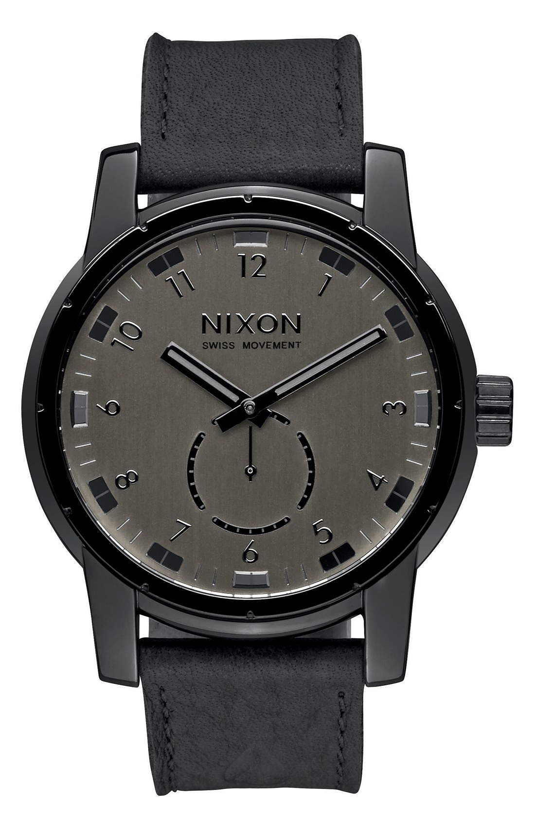 'The Patriot' Leather Strap Watch, 45mm,                         Main,                         color, Black/ Black