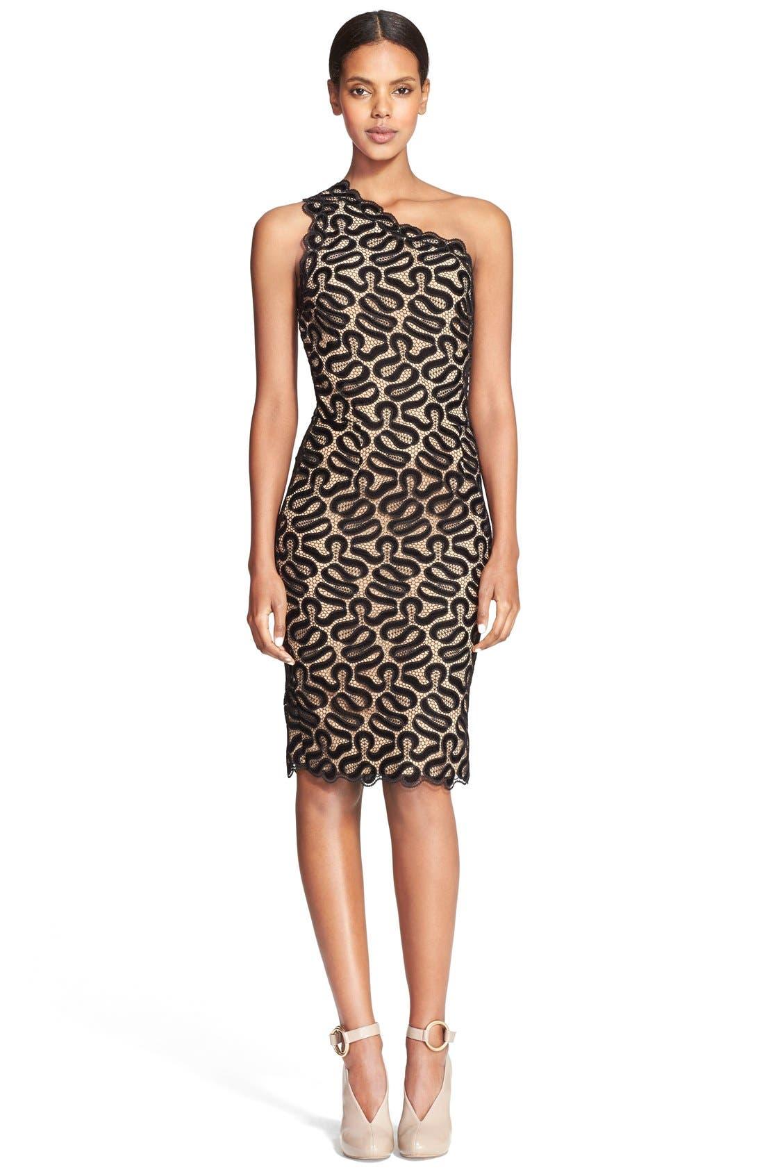 Alternate Image 1 Selected - Stella McCartney One-Shoulder Ribbon Lace Sheath Dress