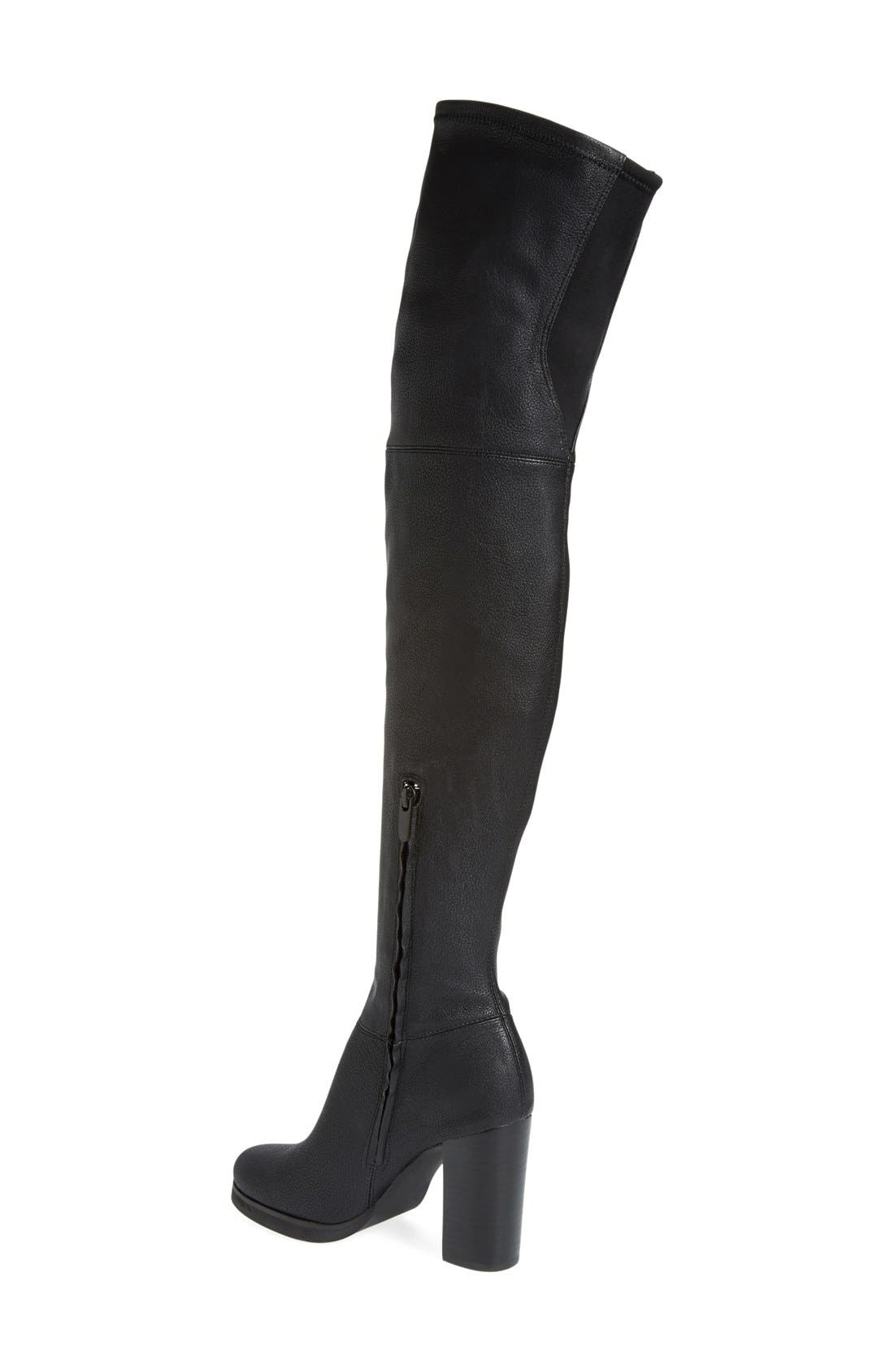 'Bisma' Over the Knee Boot,                             Alternate thumbnail 2, color,                             Black Pebbled Stretch