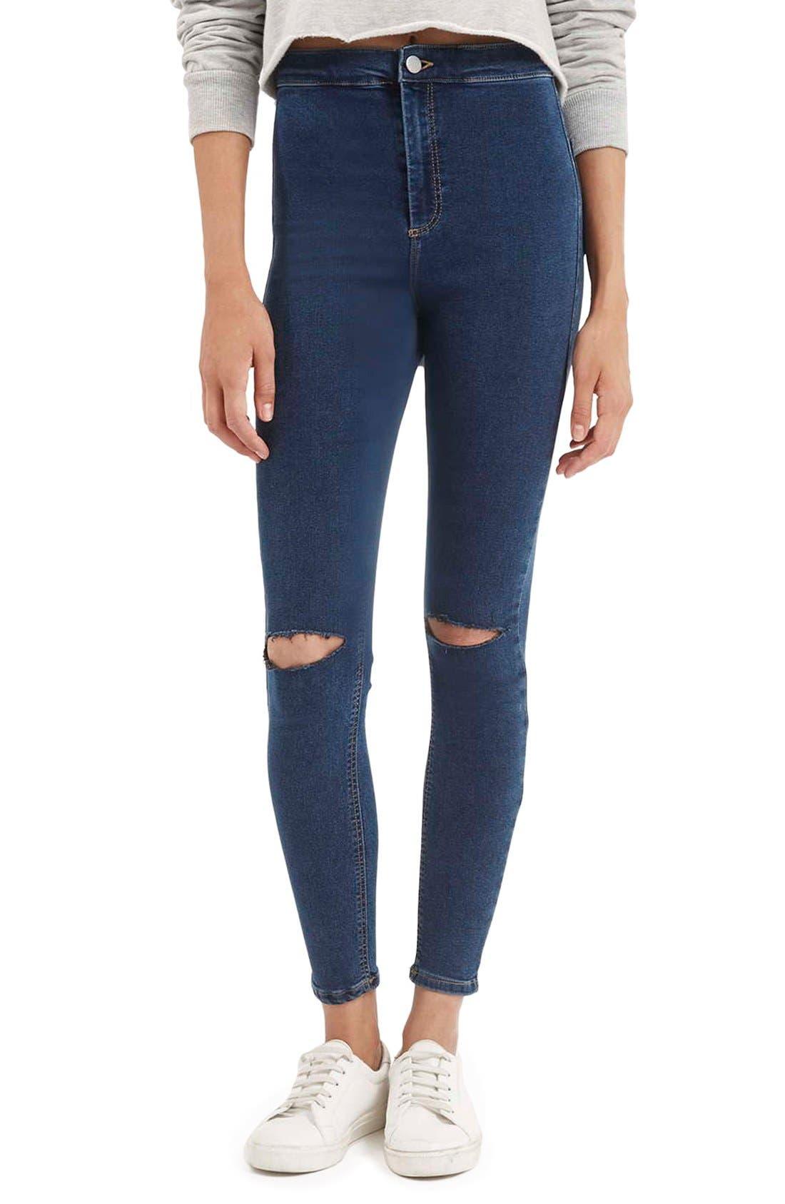 Main Image - Topshop Moto'Joni' Ripped High Rise Skinny Jeans (Regular & Short)