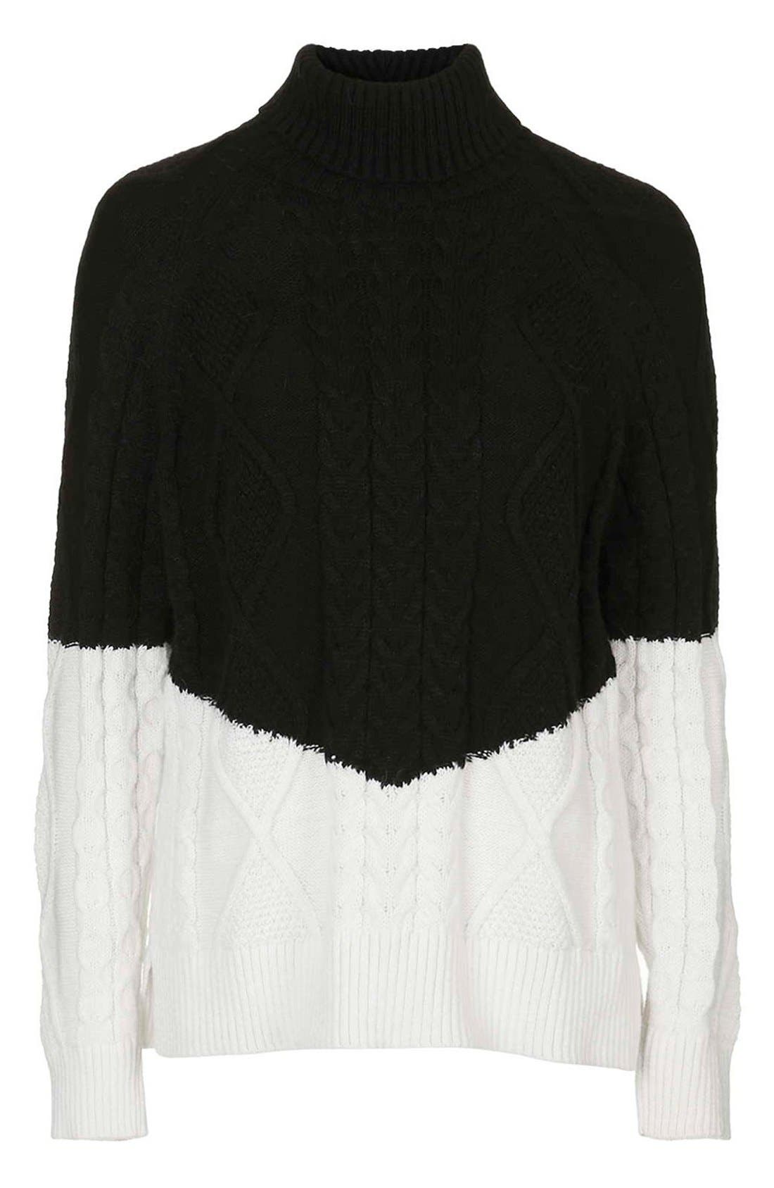 Alternate Image 4  - Topshop ColorblockCable Knit Sweater