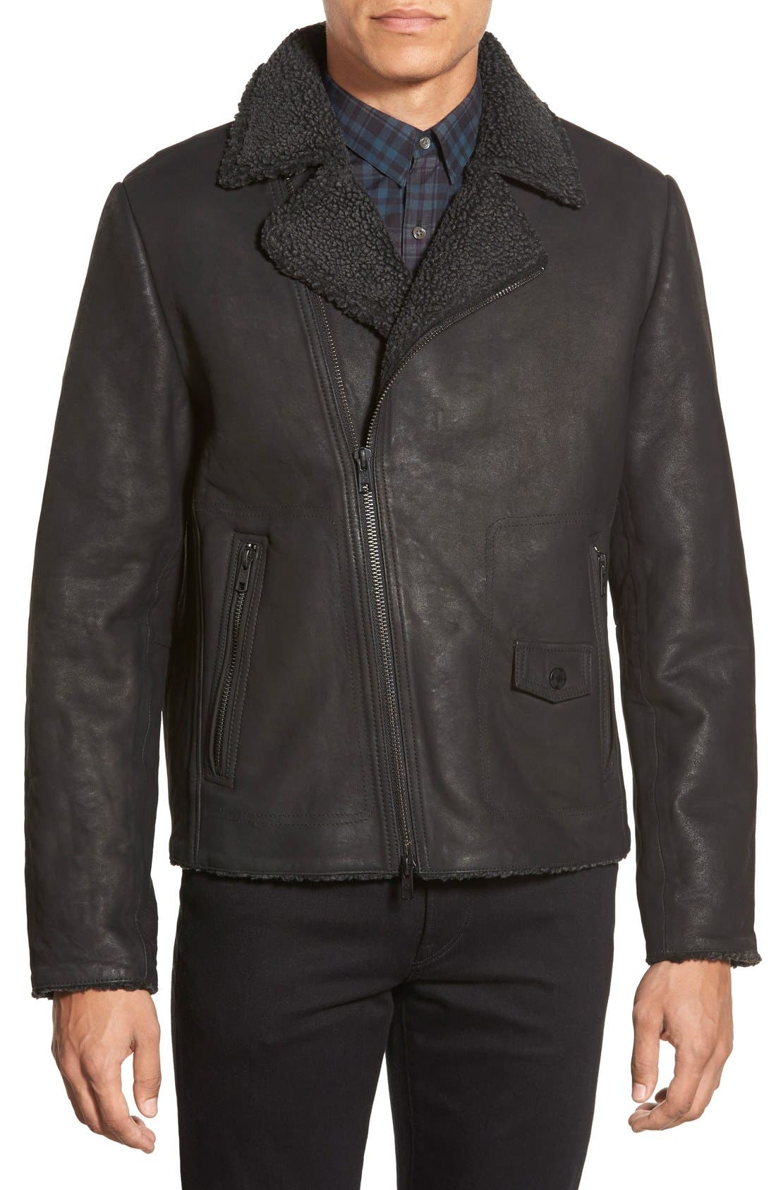 Leather Moto Jacket with Faux Shearling Lining,                         Main,                         color, Black