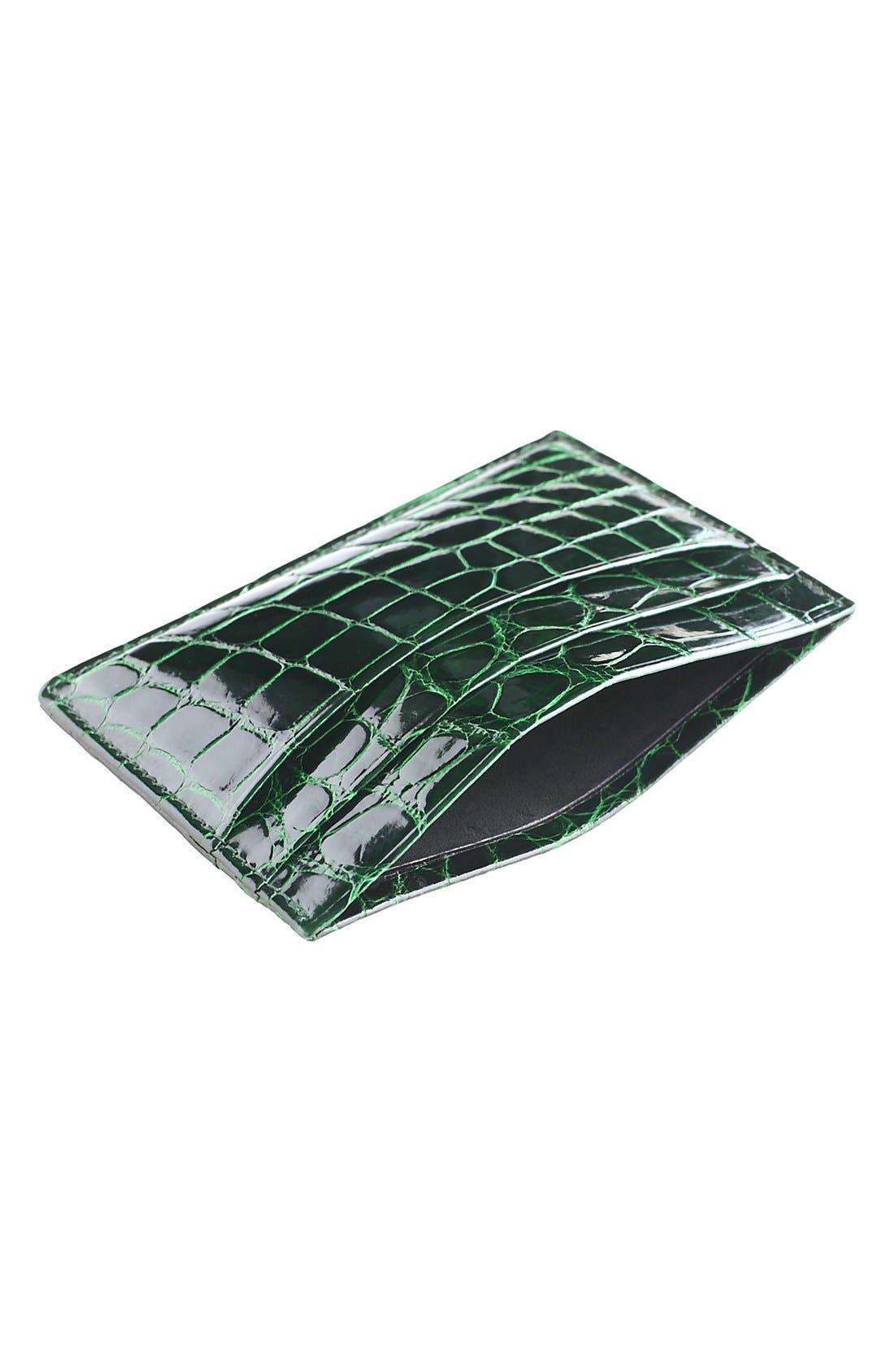 Alternate Image 2  - Trafalgar Genuine Alligator Leather Card Case