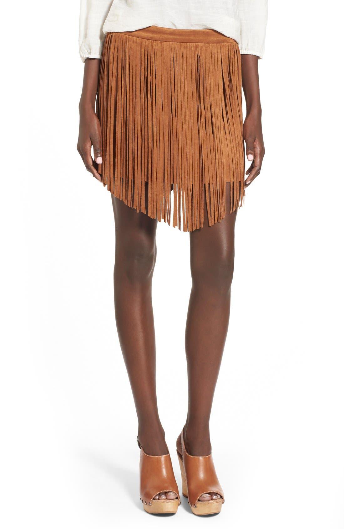 Fringe FauxSuede Skirt,                         Main,                         color, Camel