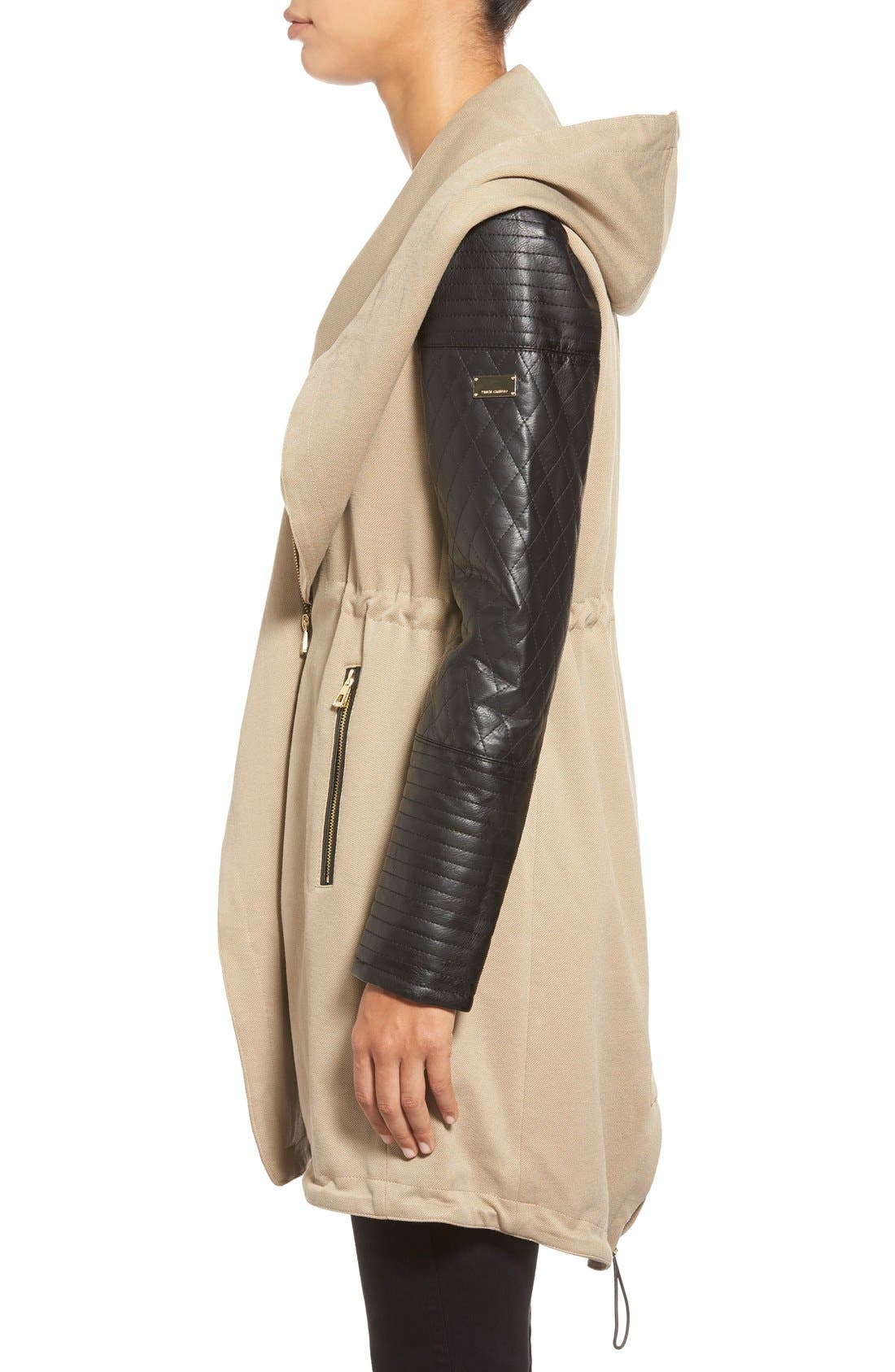 Alternate Image 3  - Vince Camuto Faux Leather Sleeve Asymmetrical Anorak