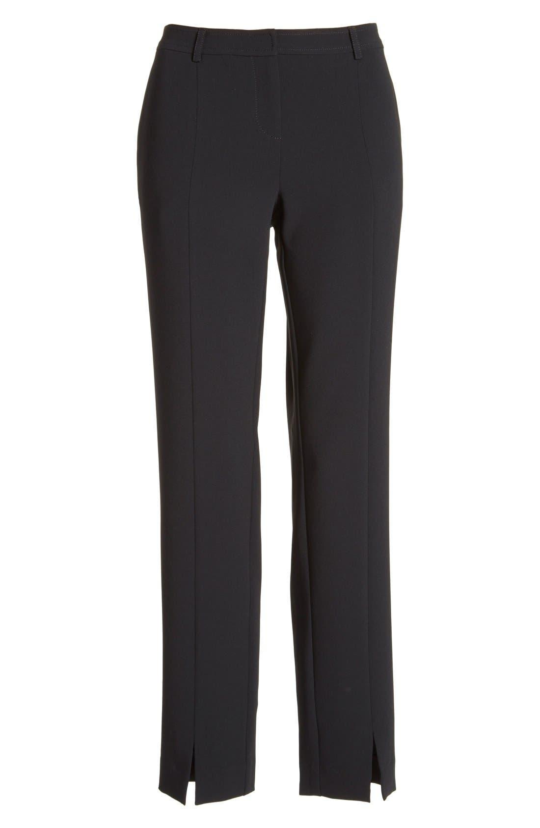 'Jennifer' Crepe Marocain Ankle Pants,                             Alternate thumbnail 4, color,                             Caviar