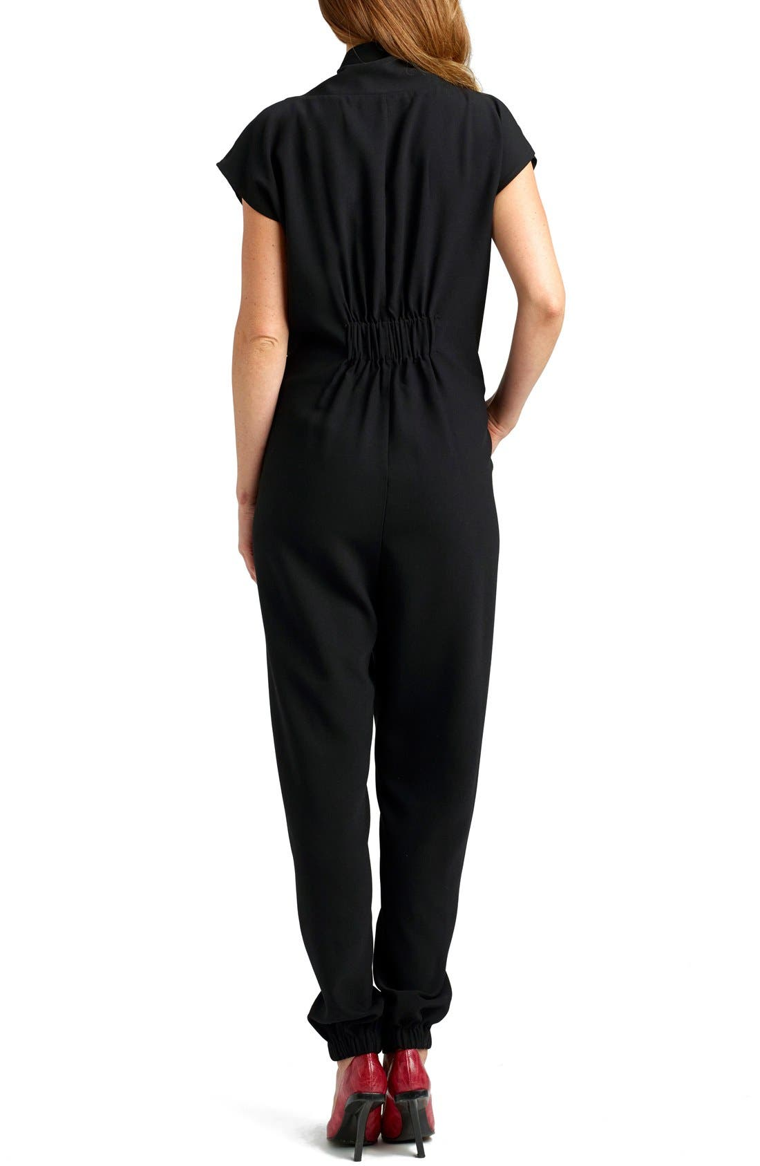 Alternate Image 2  - Loyal Hana 'Celia' Short Sleeve Maternity Jumpsuit