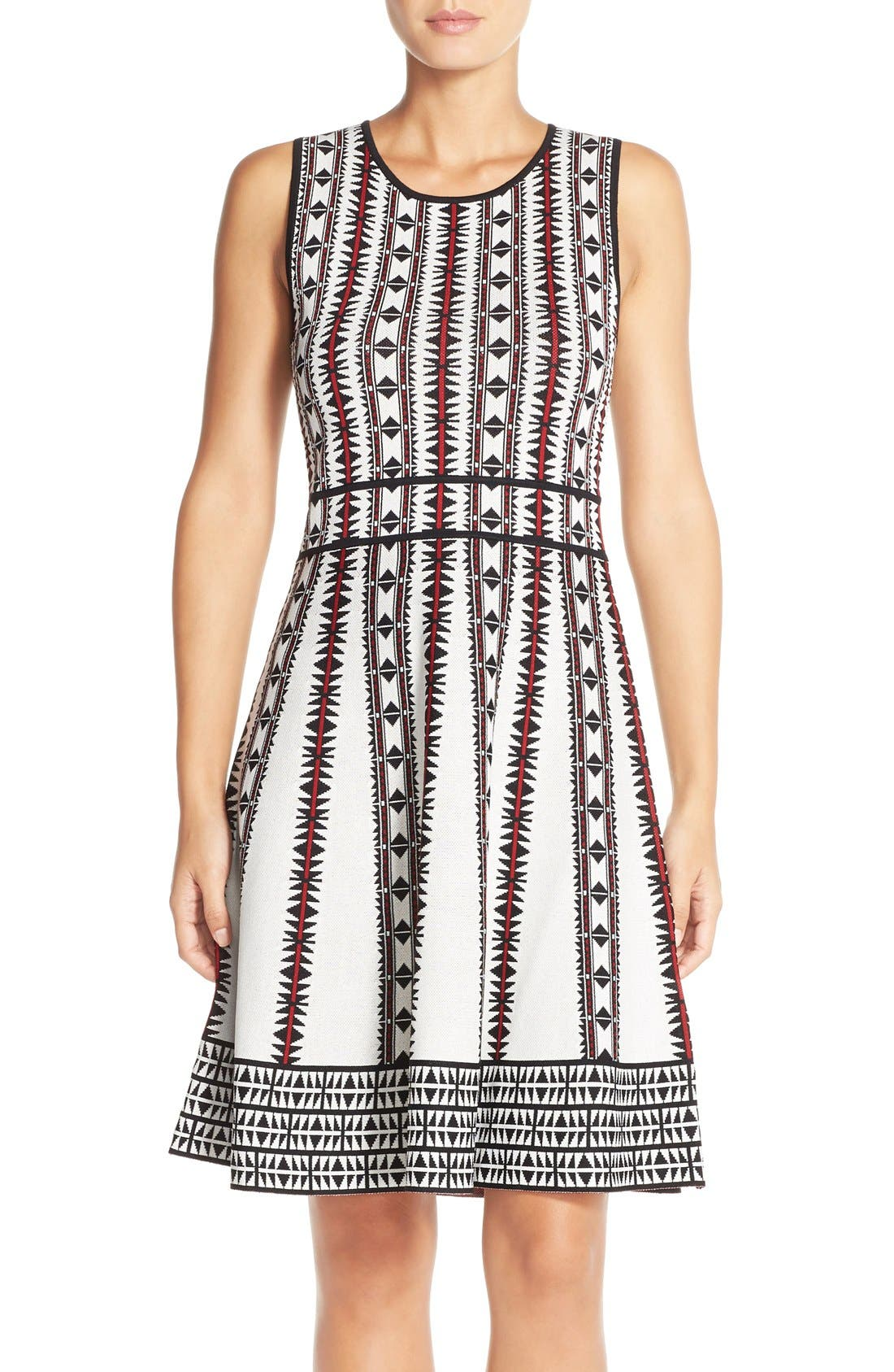 Main Image - Vince Camuto Geometric Fit & Flare Sweater Dress