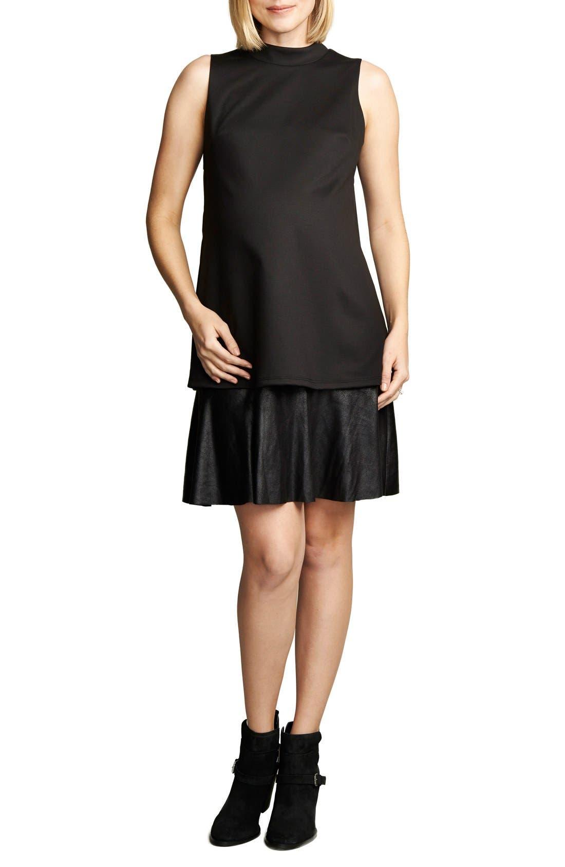 'Lucy' Maternity Dress,                             Main thumbnail 1, color,                             Black/Vegan Suede