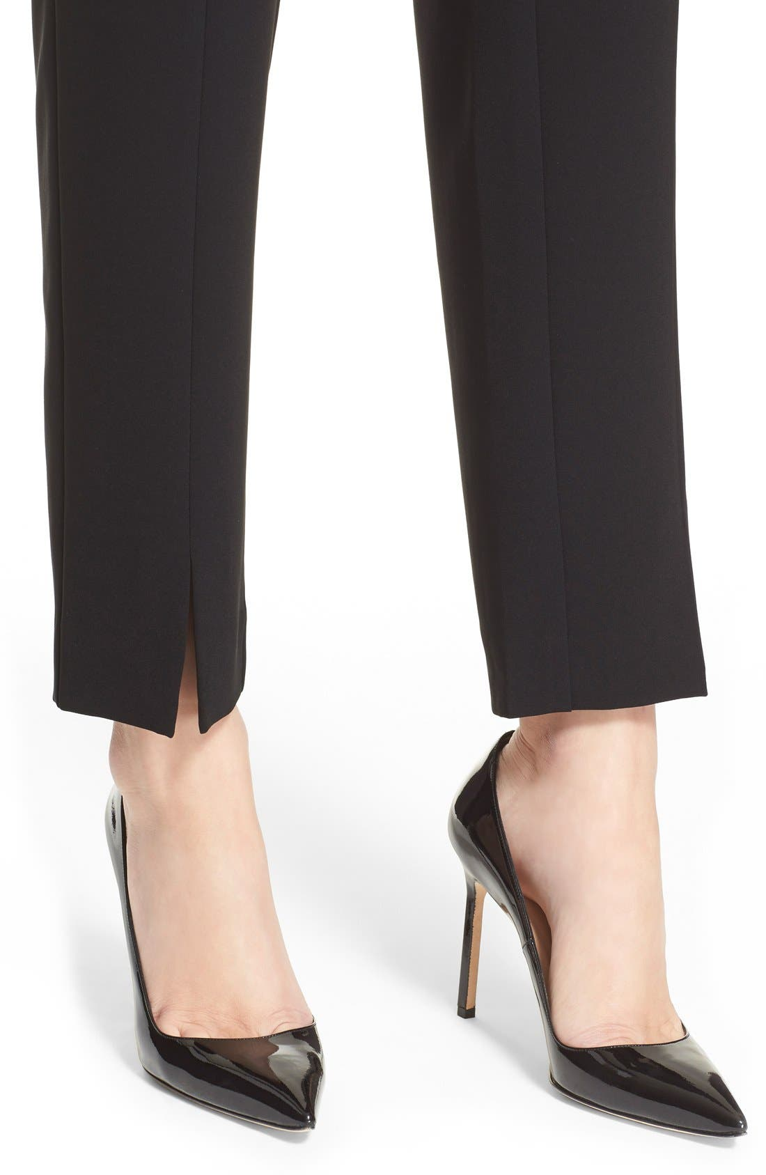 'Jennifer' Crepe Marocain Ankle Pants,                             Alternate thumbnail 6, color,                             Caviar