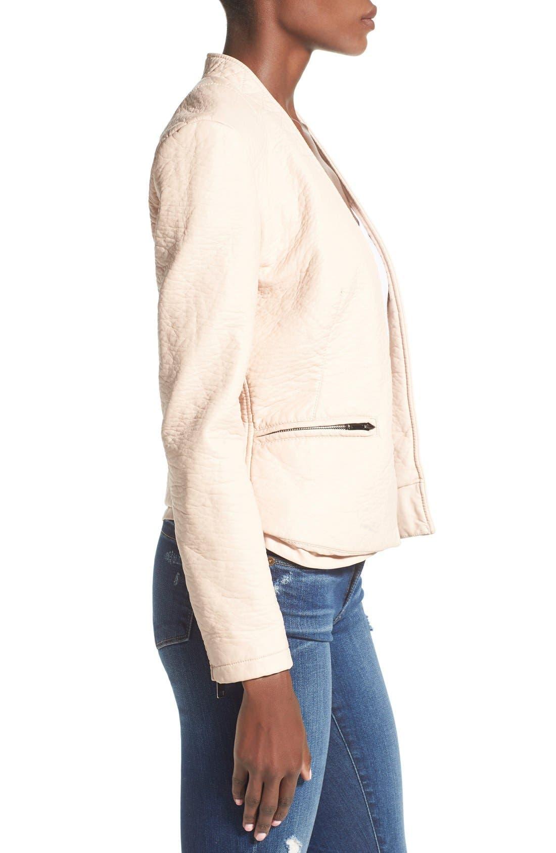 Alternate Image 3  - BLANKNYC Faux Leather Open Front Jacket