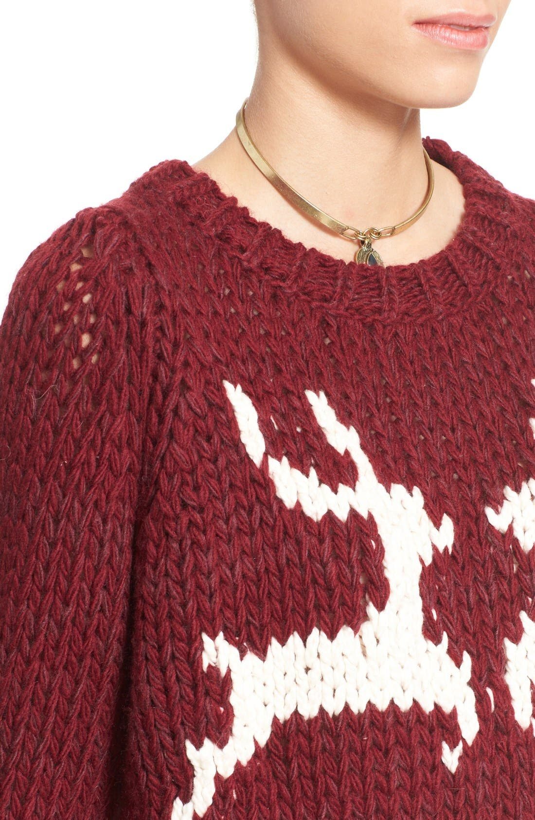 'Dancer and Prancer' Sweater,                             Alternate thumbnail 4, color,                             Beet Root