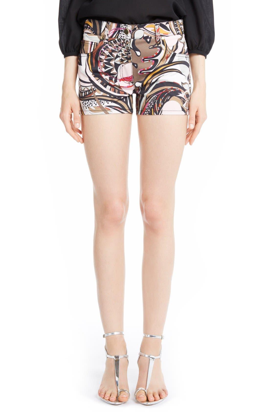 Alternate Image 1 Selected - Emilio Pucci Print Stretch Cotton Shorts