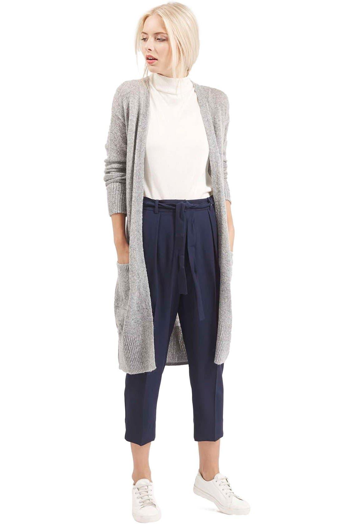 'Lulu' Belted Longline Cardigan,                             Alternate thumbnail 2, color,                             Light Grey