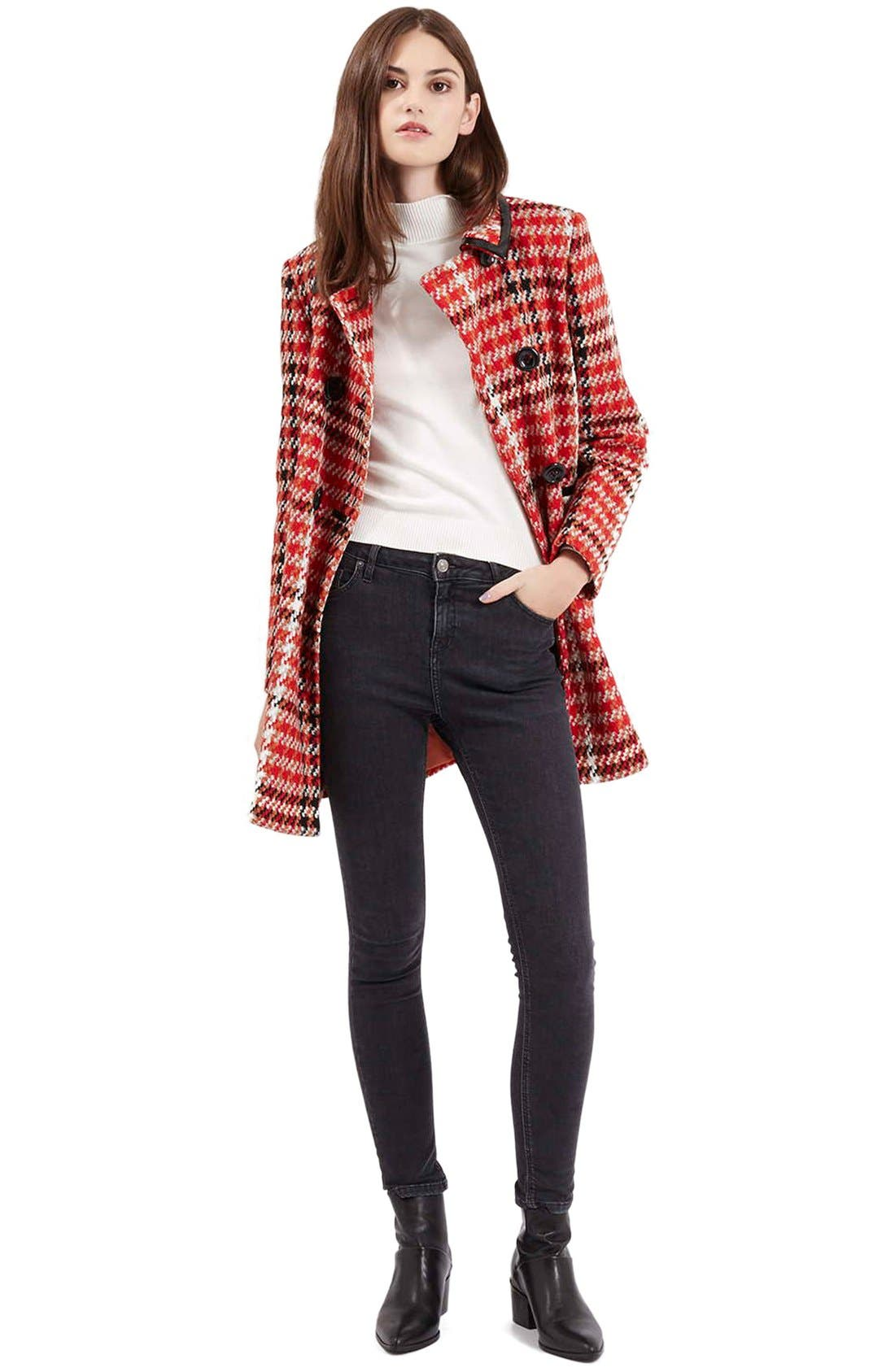 Alternate Image 2  - Topshop Check Double Breasted Coat