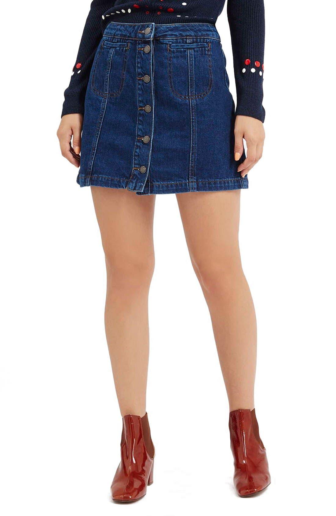 Alternate Image 1 Selected - TopshopButton Front Denim Skirt