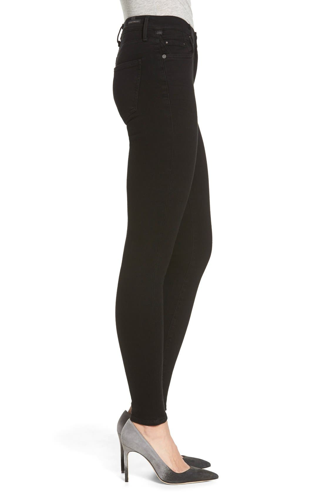 Rocket High Waist Skinny Jeans,                             Alternate thumbnail 3, color,                             Black