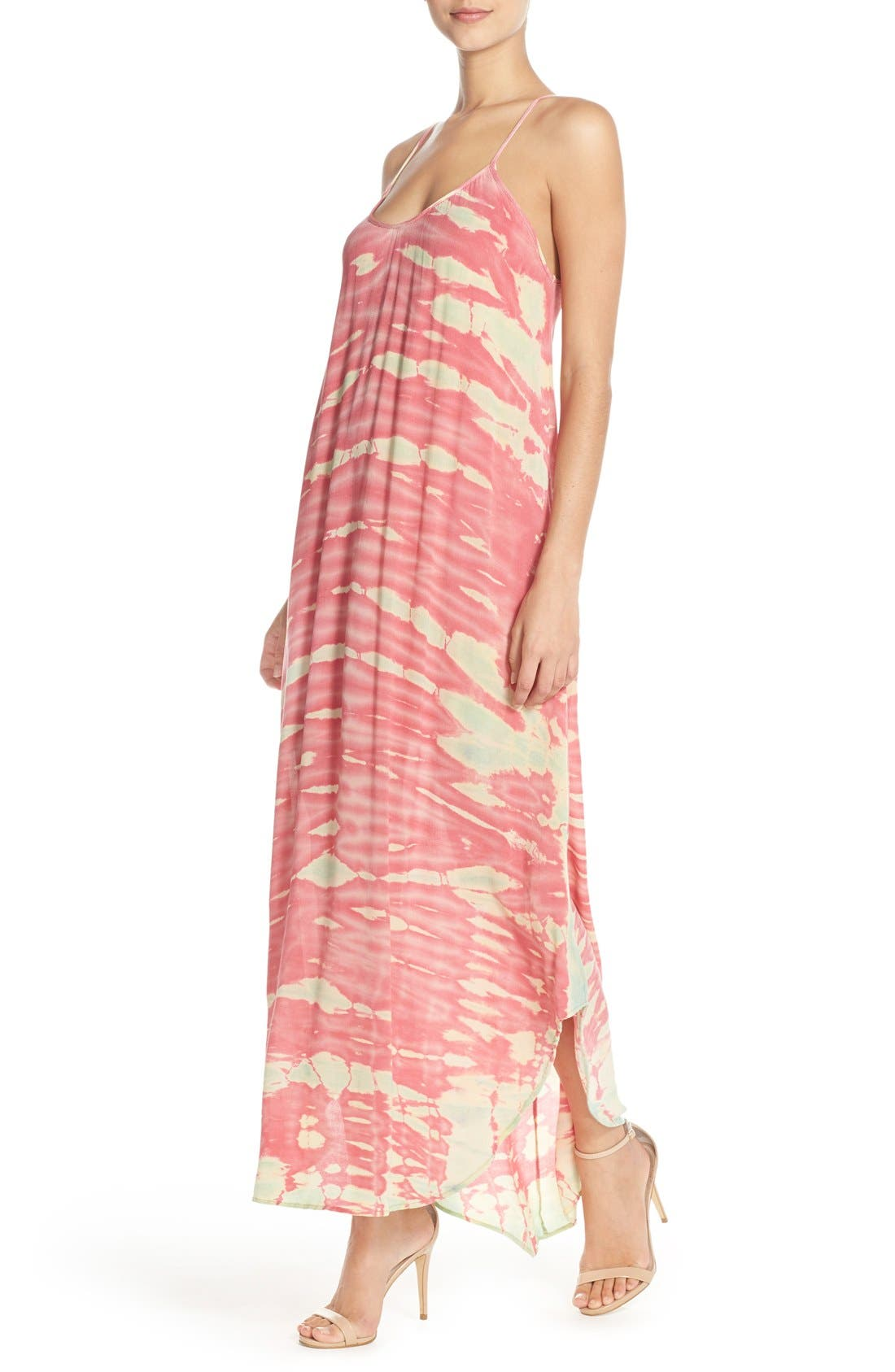 Tie Dye A-Line Maxi Dress,                             Alternate thumbnail 4, color,                             Pink/ Mint Special
