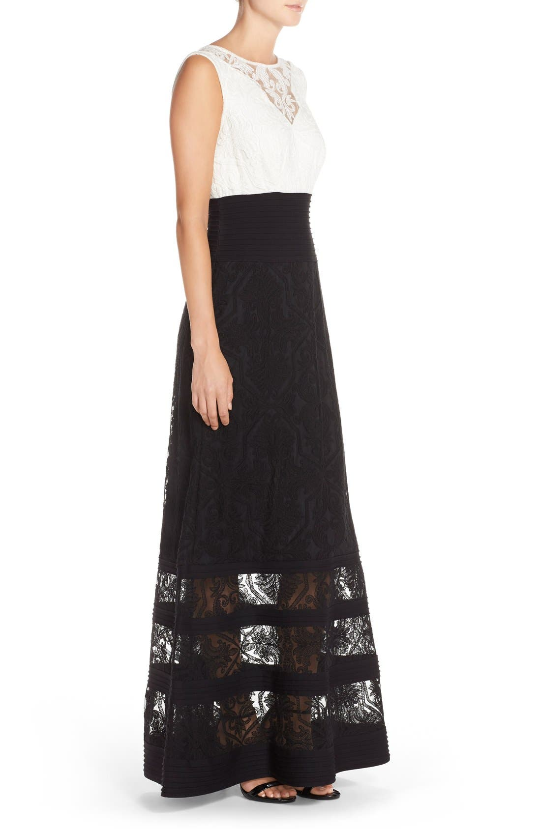 Embroidered Tulle Fit & Flare Gown,                             Alternate thumbnail 2, color,                             Ivory/ Black