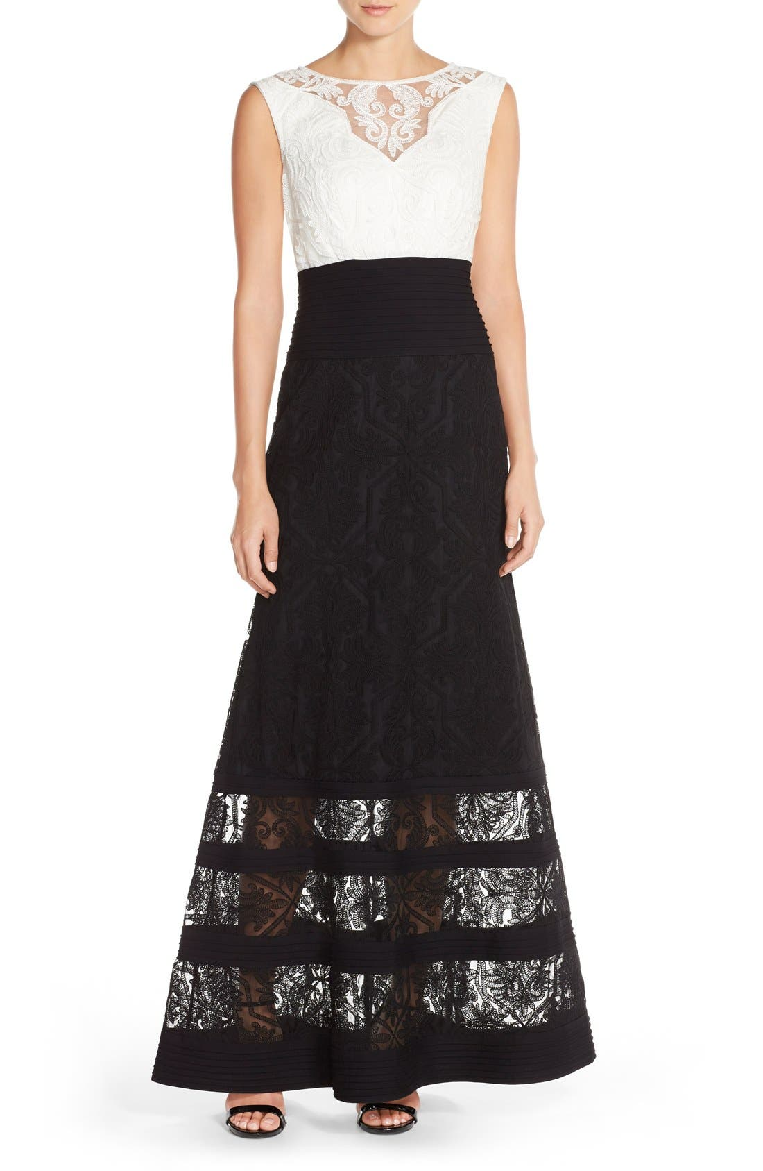 Embroidered Tulle Fit & Flare Gown,                         Main,                         color, Ivory/ Black