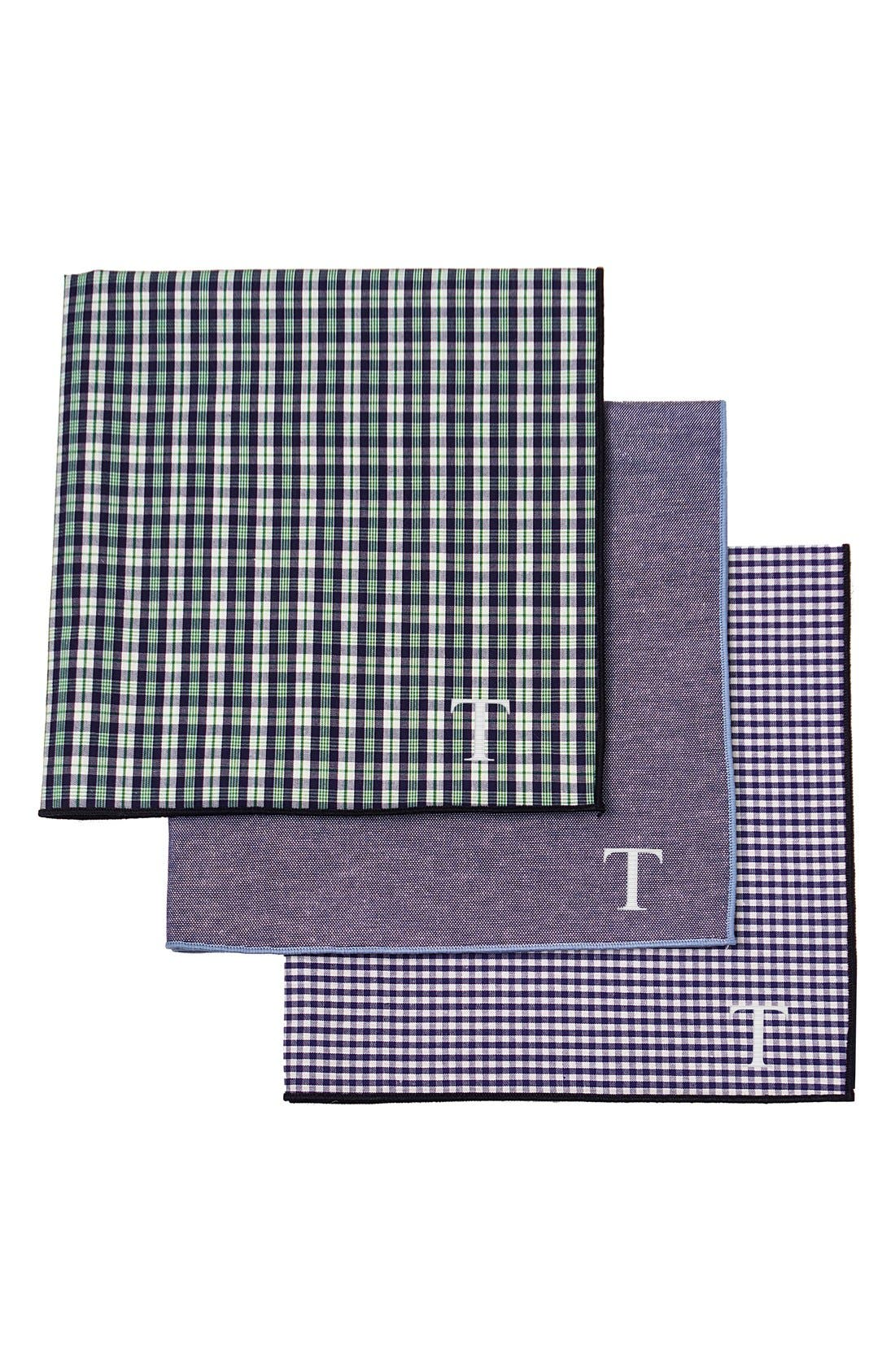 Set of 3 Monogram Pocket Squares,                         Main,                         color, Green - T