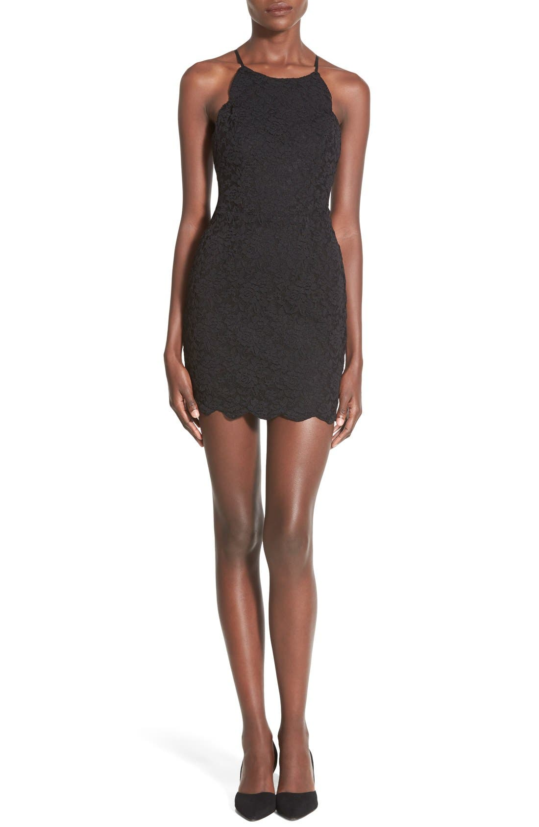 Main Image - Hommage Strappy Lace Body-Con Dress