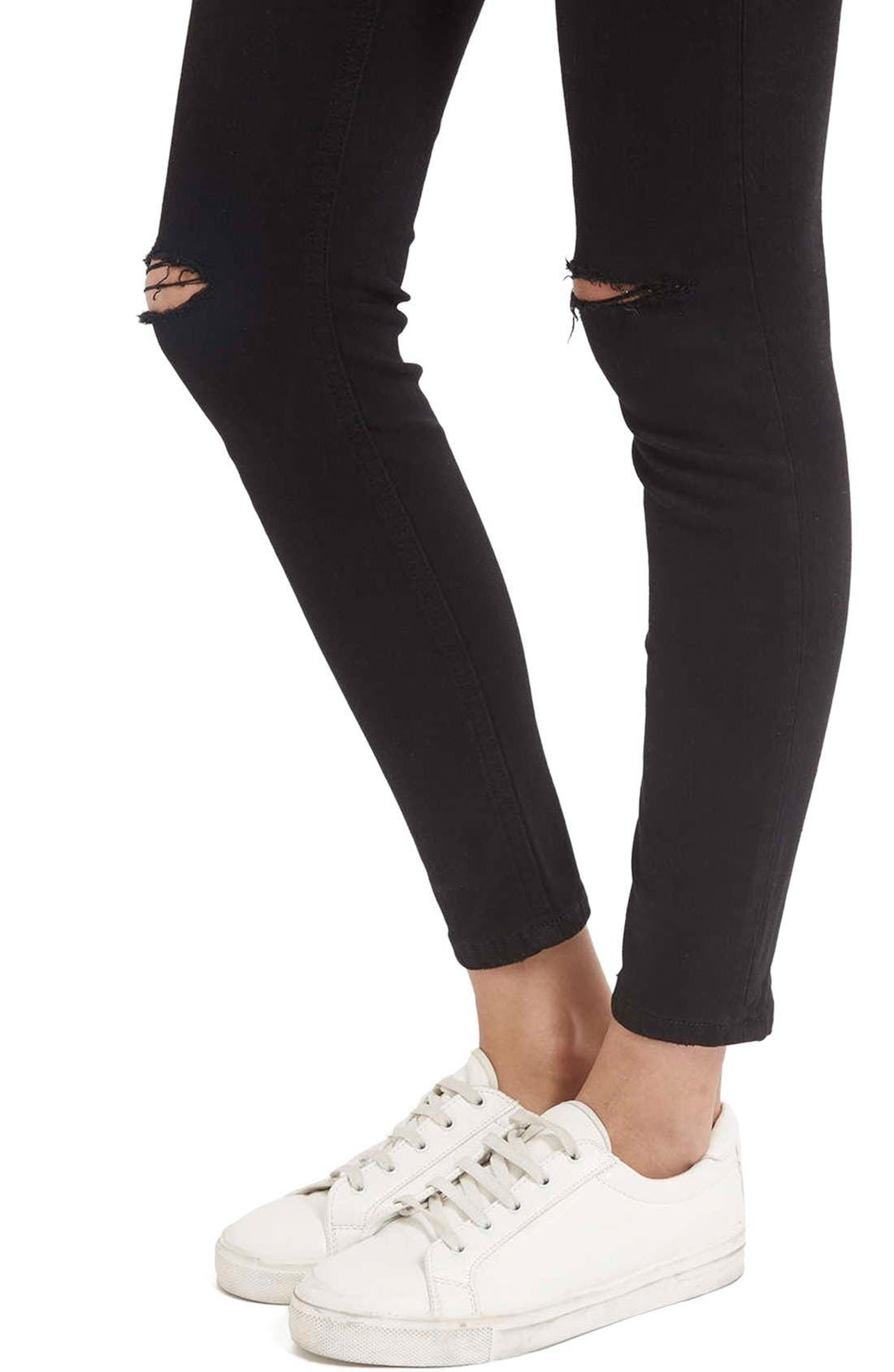 Moto 'Jamie' Ripped Crop Skinny Jeans,                             Alternate thumbnail 5, color,                             Black