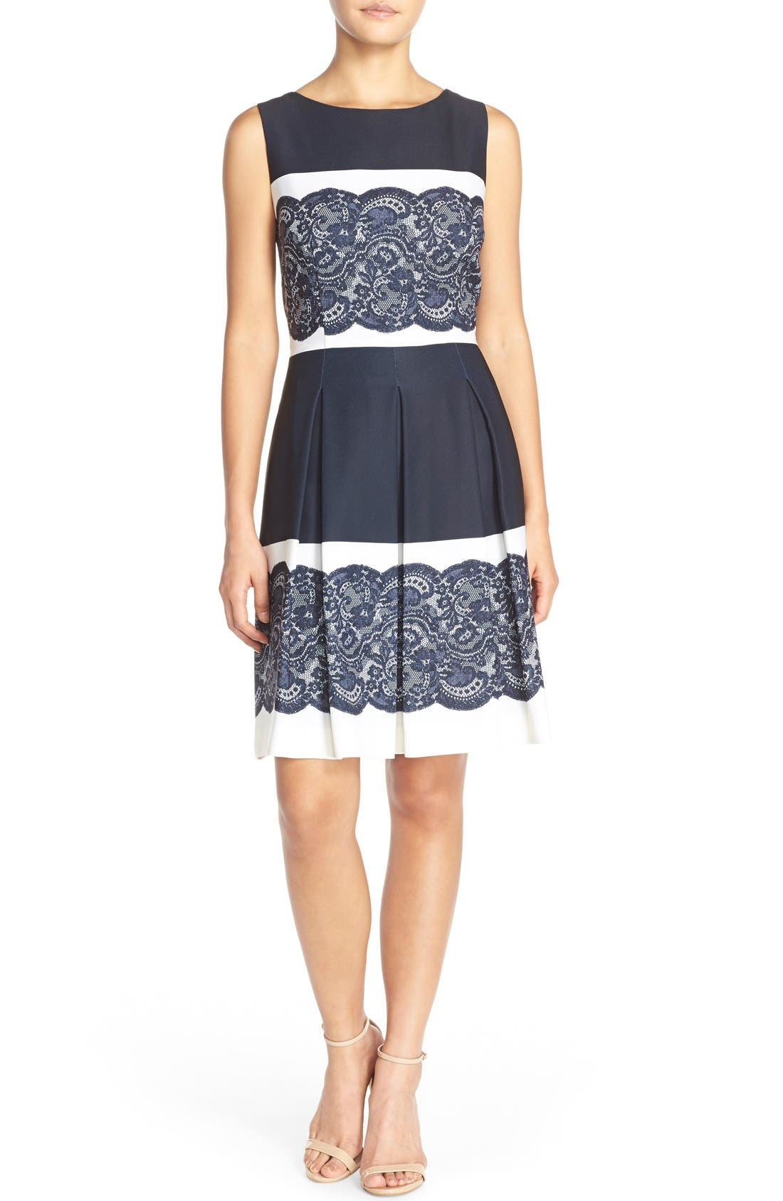 Alternate Image 4  - Tahari Lace Panel Twill Fit & Flare Dress (Regular & Petite)