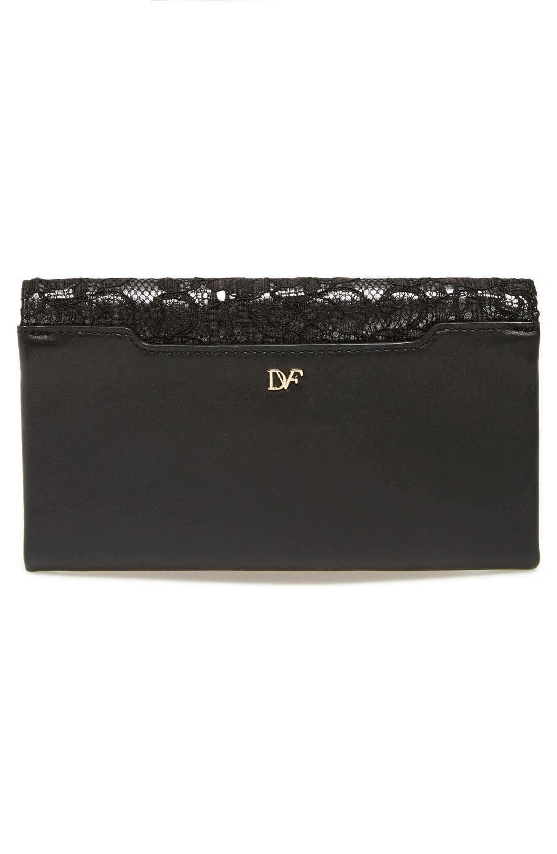 Alternate Image 4  - Diane von Furstenberg '440' Floral Lace Flap Envelope Clutch